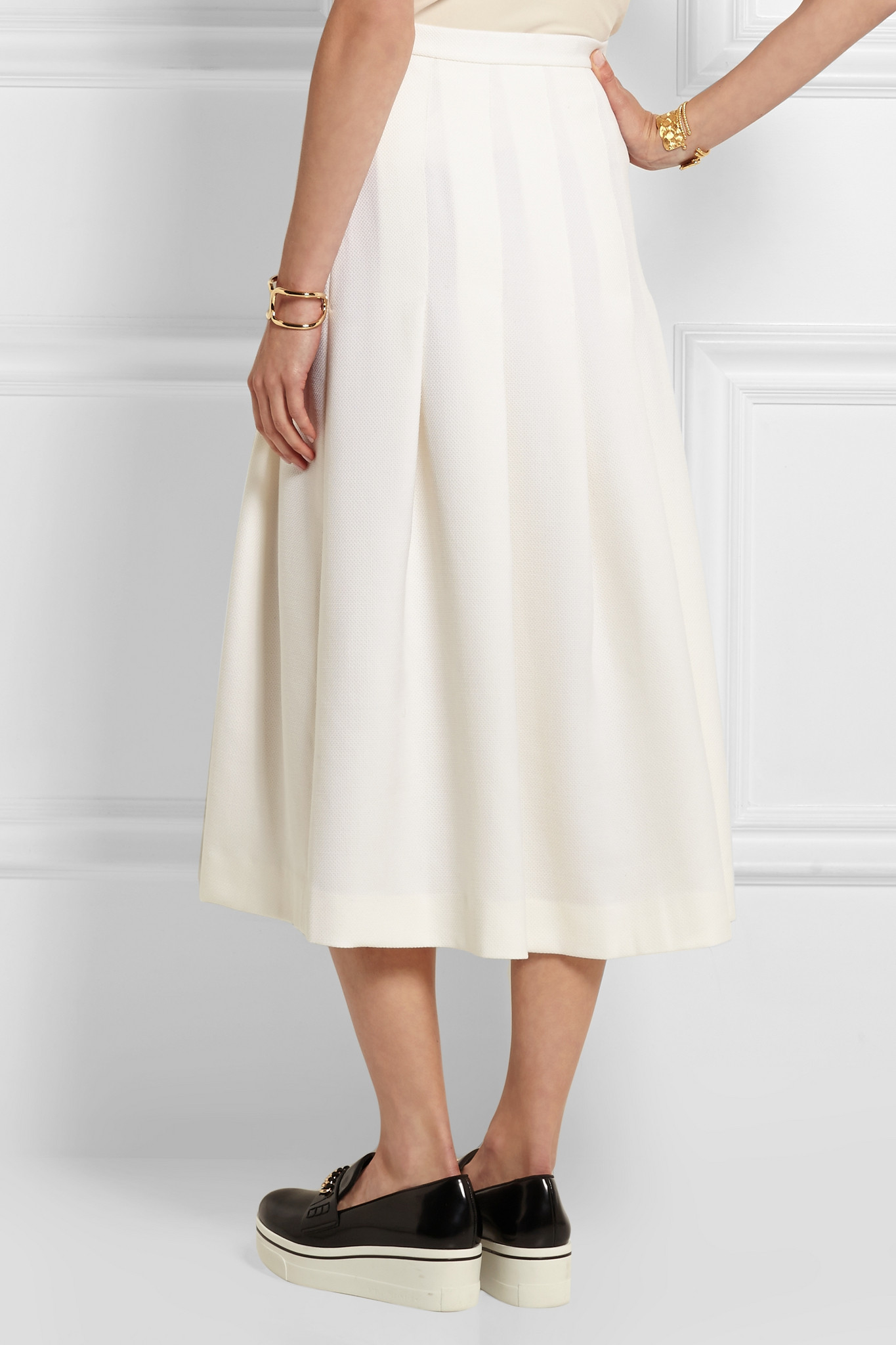 9c3294958e Mother Of Pearl Dune Pleated Wool-piqué Midi Skirt in White - Lyst