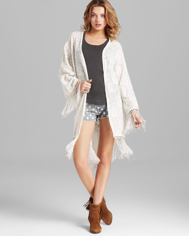 Minkpink Kimono Cardigan - Lace Fringe in Natural | Lyst