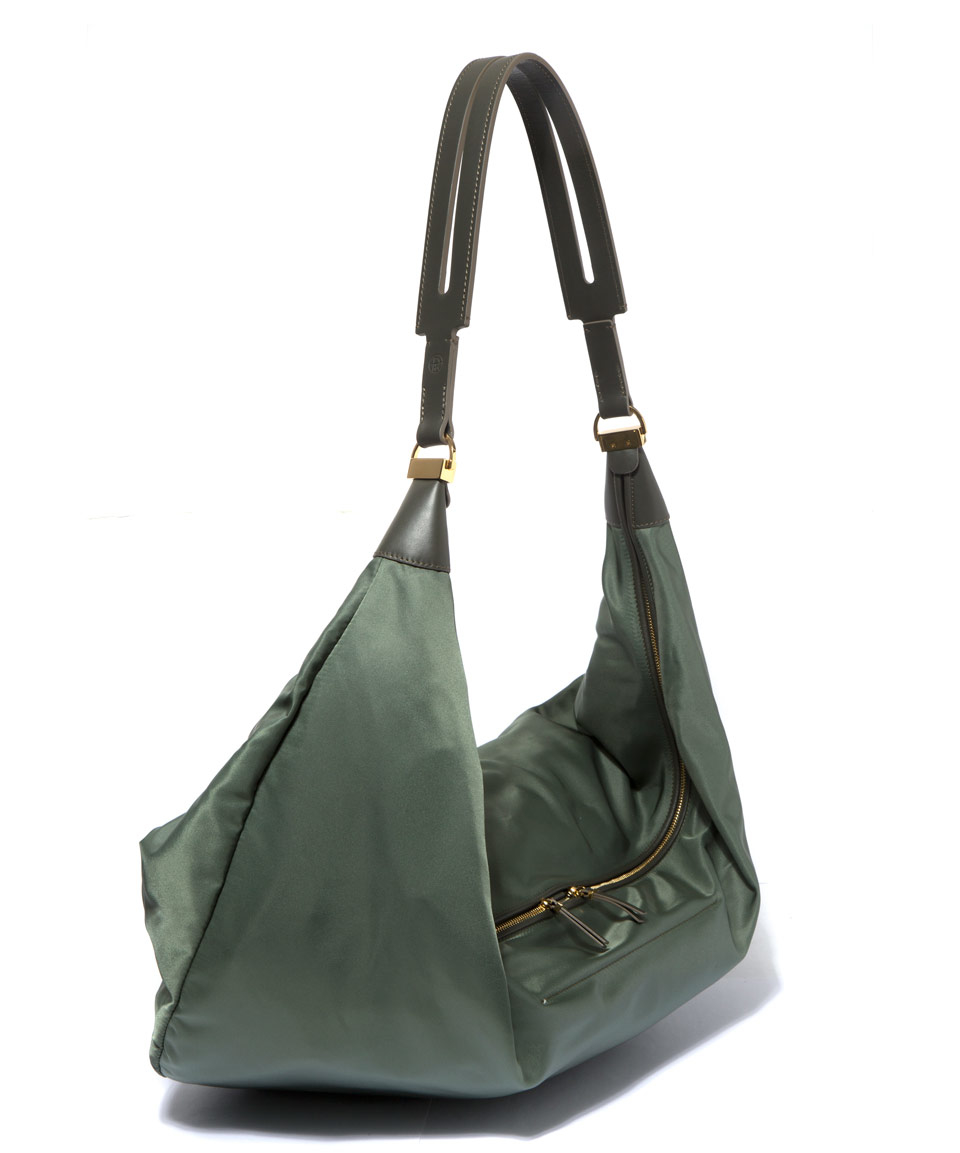 The row Olive Sling Nylon Hobo Bag in Green | Lyst