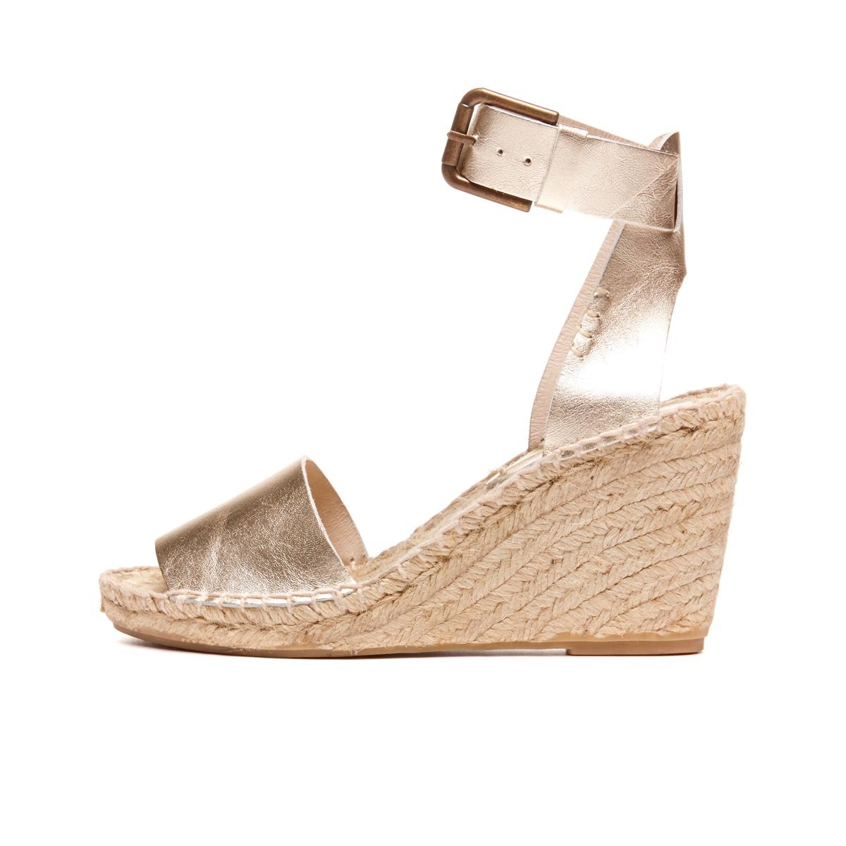 3d6f97093094 Lyst - Soludos Open-Toe Linen and Leather Wedges in Natural