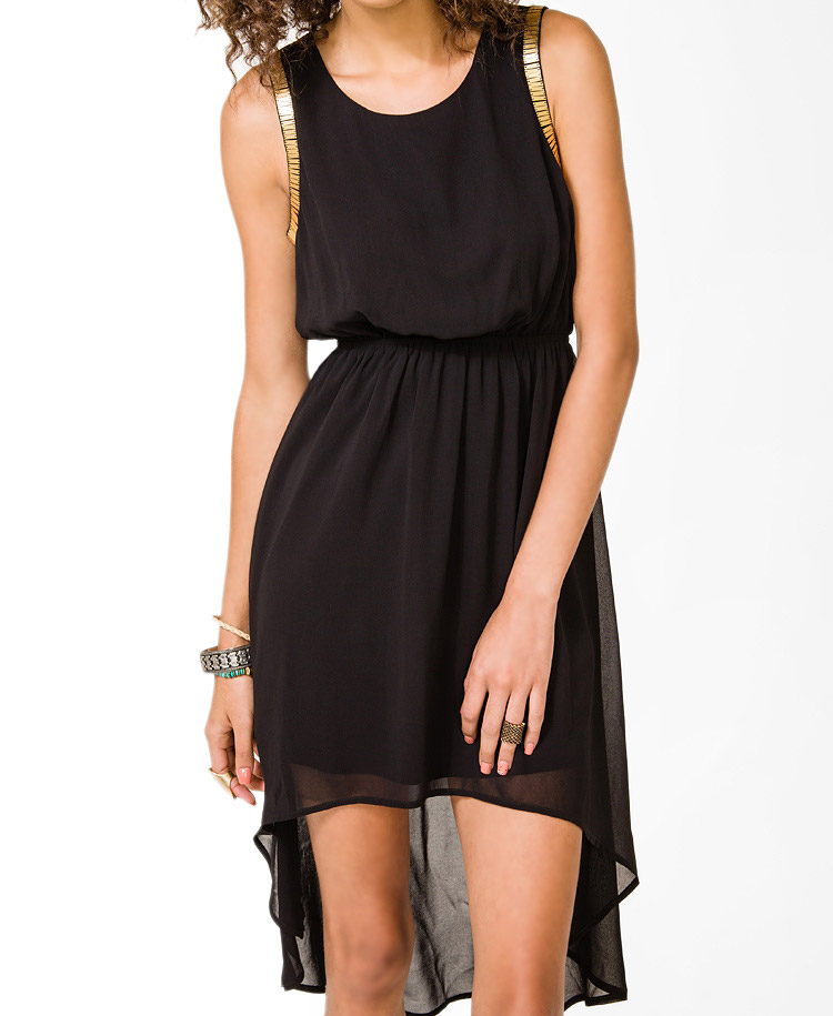 Forever 21 Paillette Trimmed High Low Dress In Black Lyst