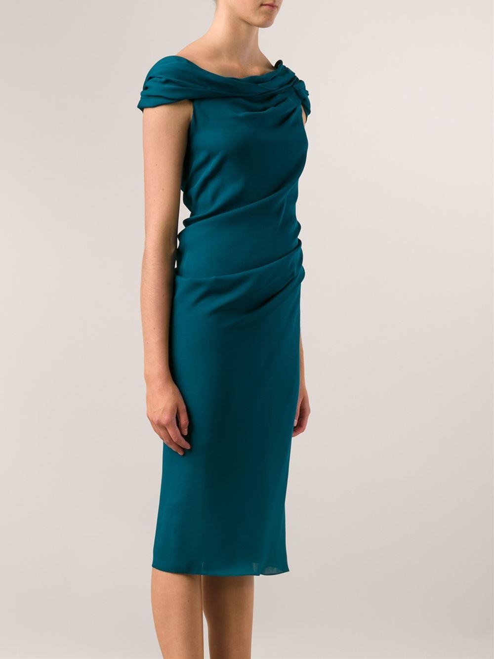 Lyst Cushnie Et Ochs Off The Shoulder Dress In Blue