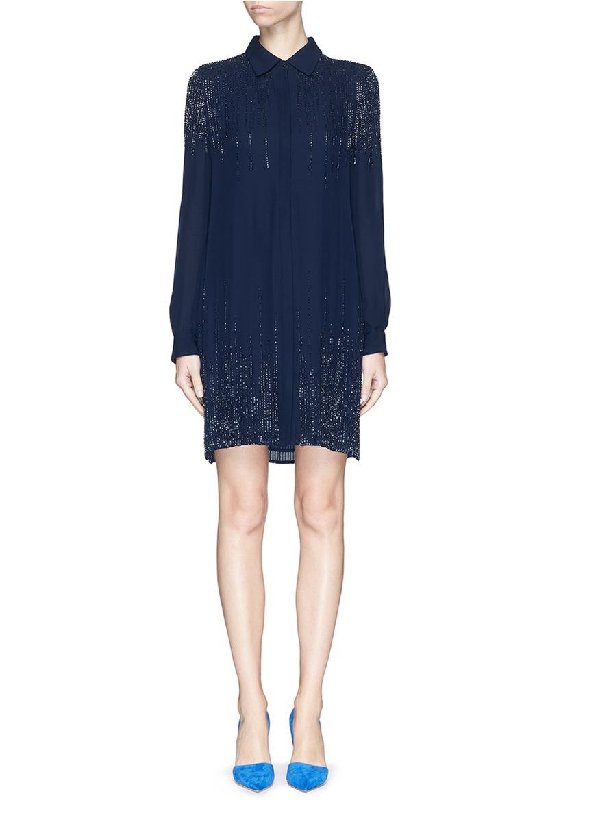 92b2622ebd Diane von Furstenberg  prita  Embellished Silk Shirt Dress in Blue ...