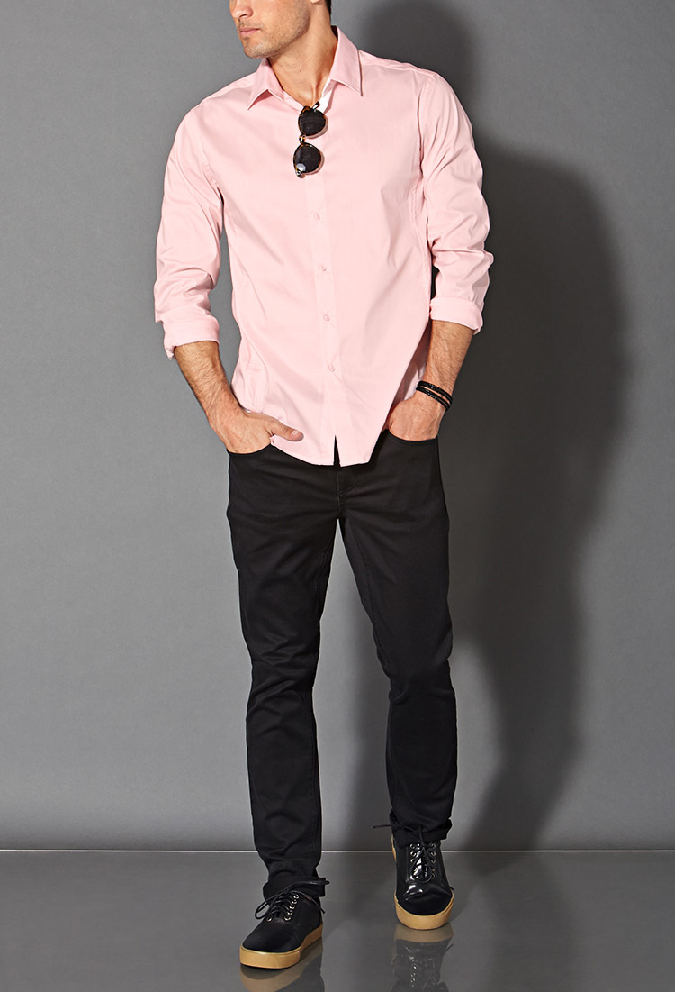 Lyst Forever 21 Fitted Dress Shirt In Pink For Men