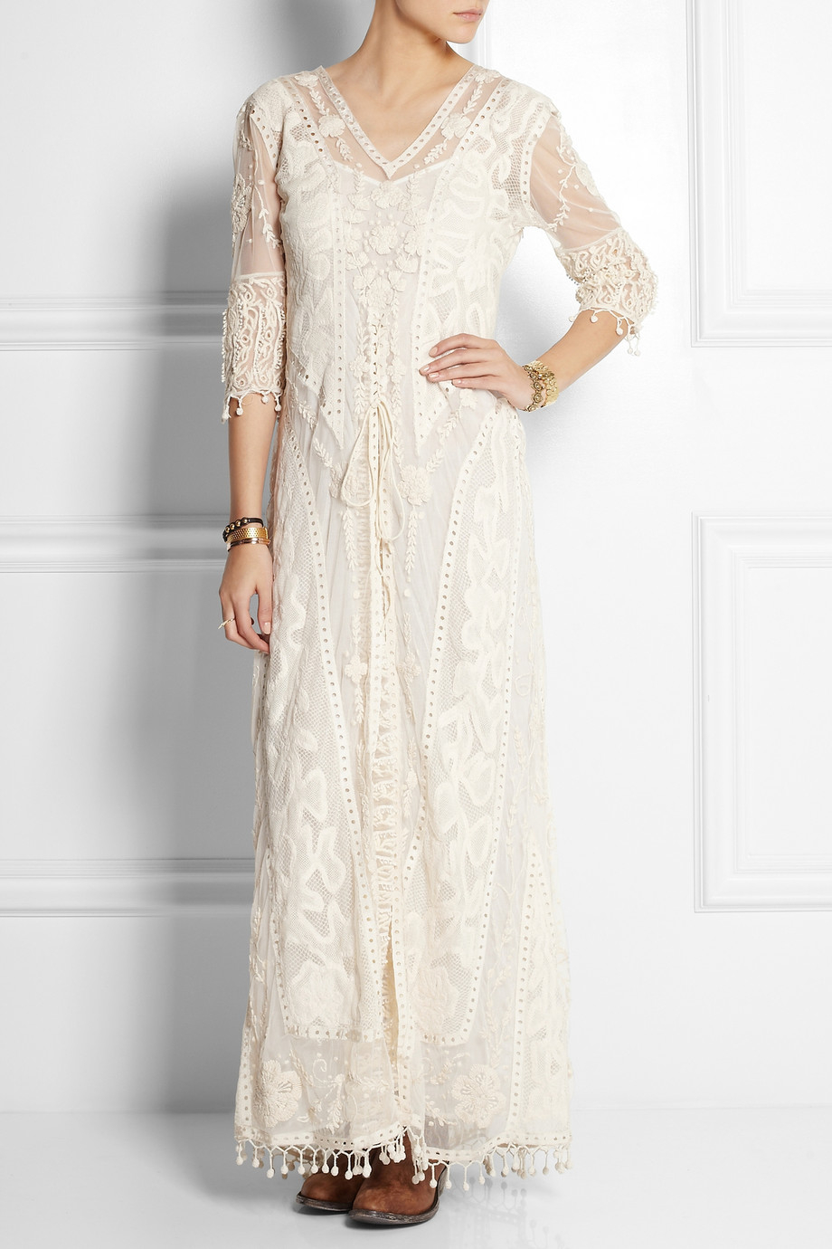 Topshop Embroidered Tulle And Crocheted Lace Maxi Dress In