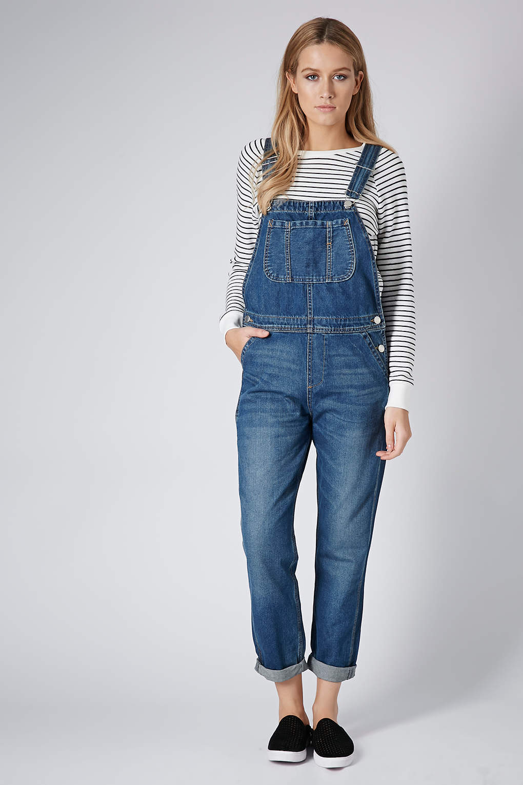 Lyst - Topshop Moto Denim Long Leg Dungarees in Blue