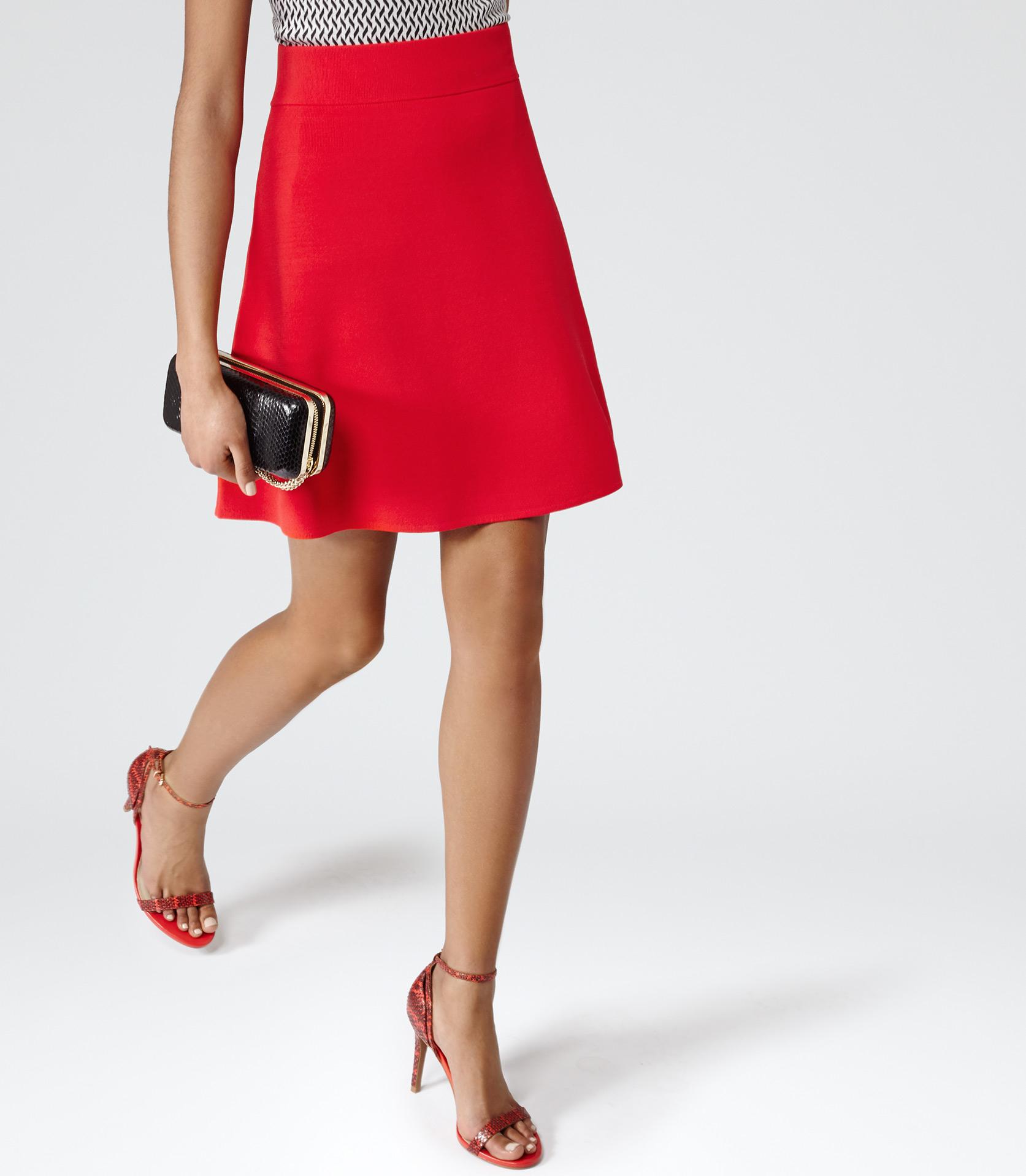 Reiss Dene A Line Mini Skirt in Red | Lyst