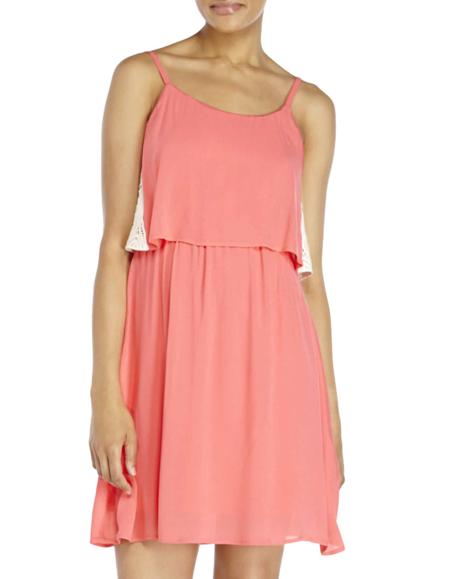 as u wish coral popover dress in pink lyst