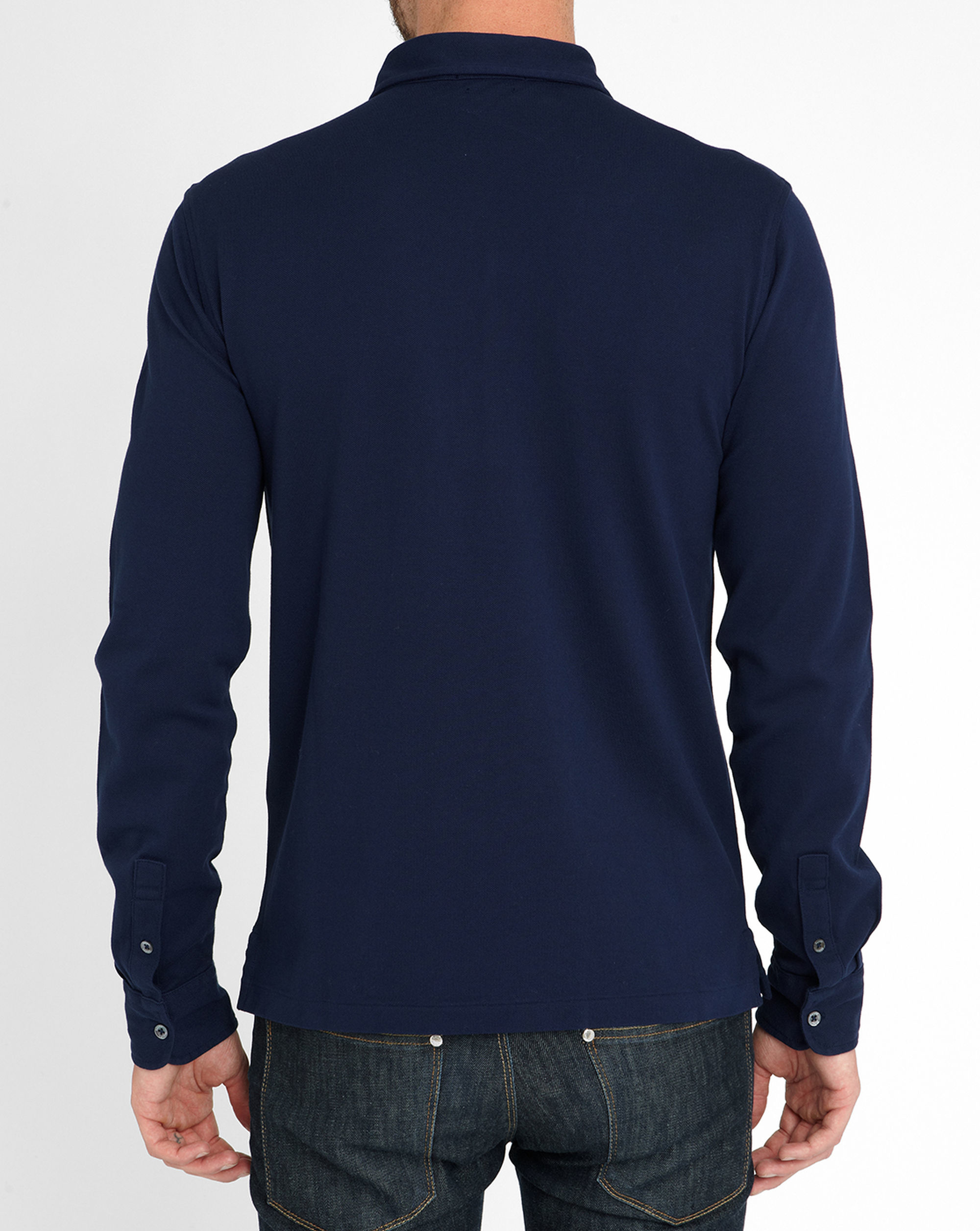 Polo Ralph Lauren Navy Long Sleeve Stretch Polo Shirt In