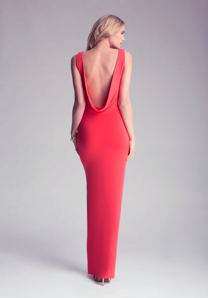 Red Open Back Maxi Dress Back Maxi Dress in Red