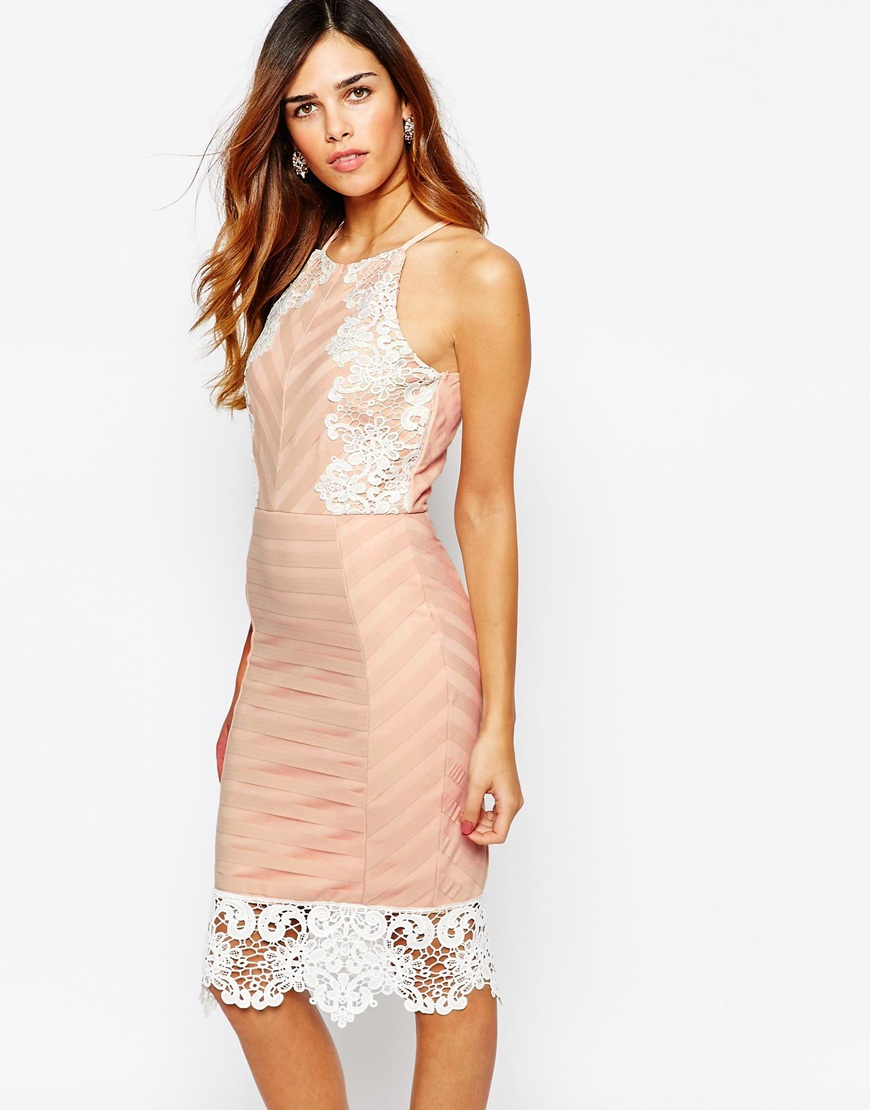 Lyst - Lipsy Michelle Keegan Loves Lace Applique Cami Strap Dress In Natural-6306