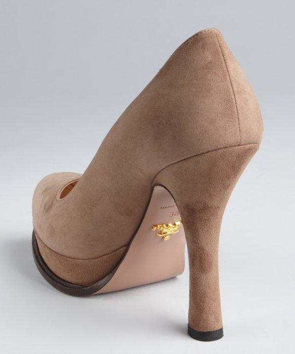 Prada Camel Suede Platform Heels in Brown | Lyst