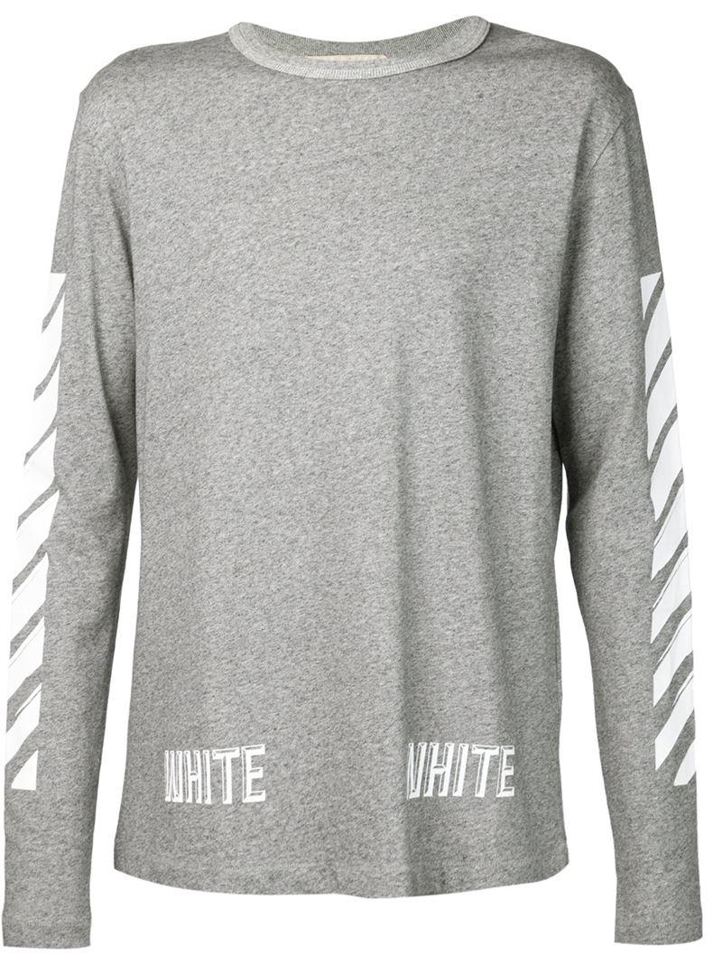 ea88a9967421 Off-White c/o Virgil Abloh Long Sleeve T-shirt in Gray for Men - Lyst