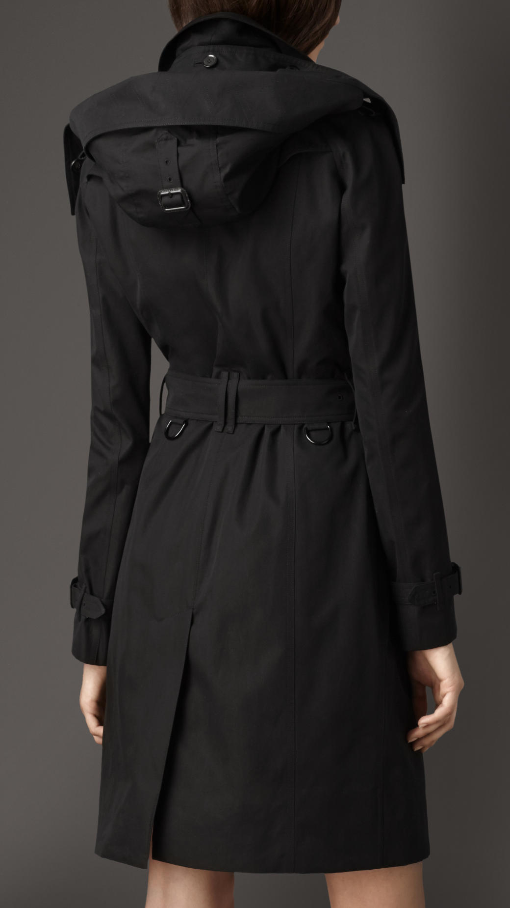 Burberry Long Gabardine Hooded Trench Coat With Warmer In