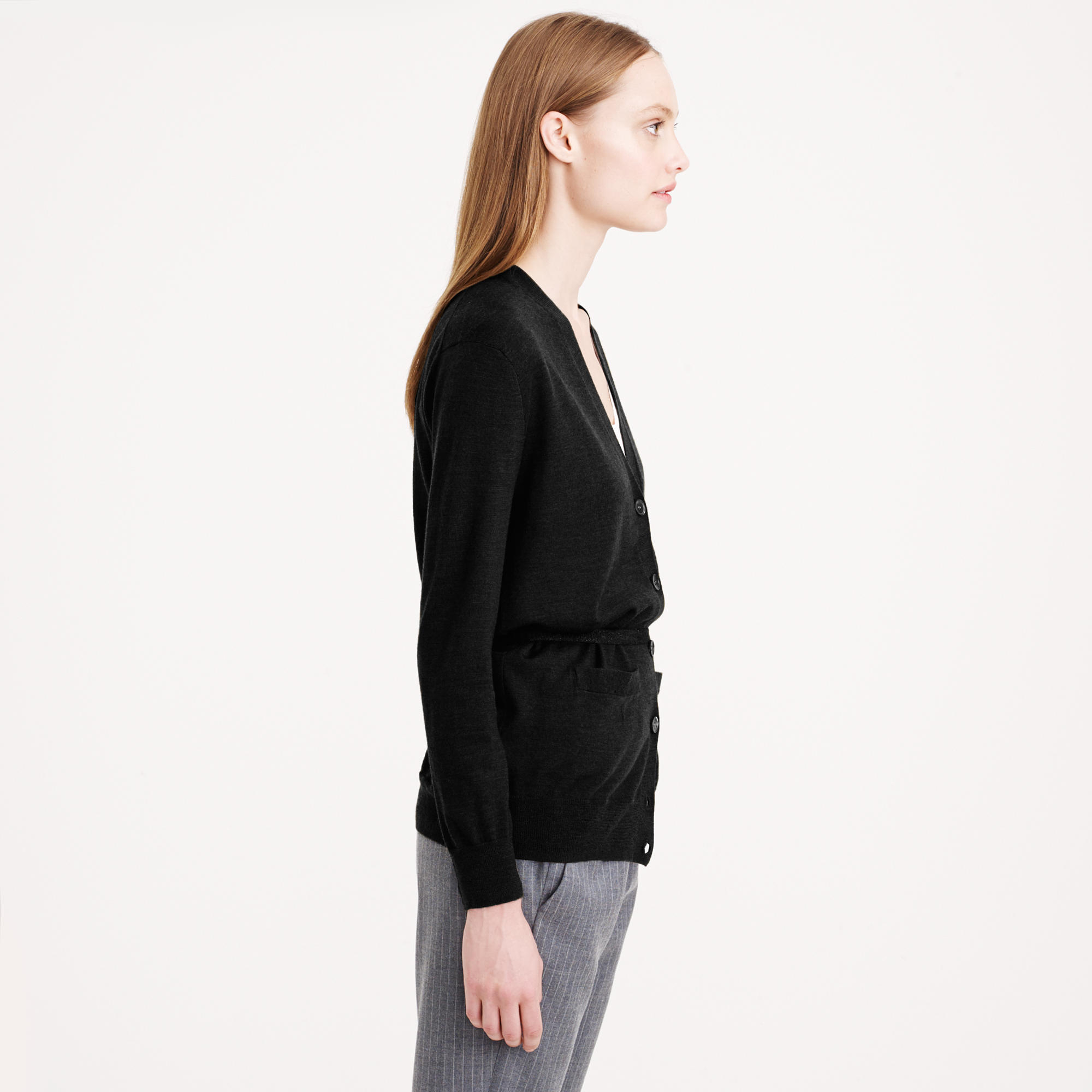 J.crew Petite Merino Wool Belted Cardigan in Black | Lyst