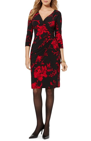Lyst Lauren By Ralph Lauren Floral Faux Wrap Jersey