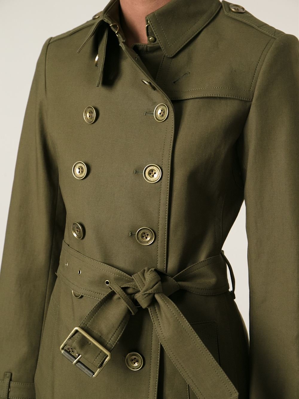 Burberry Military Trench Coat in Green | Lyst