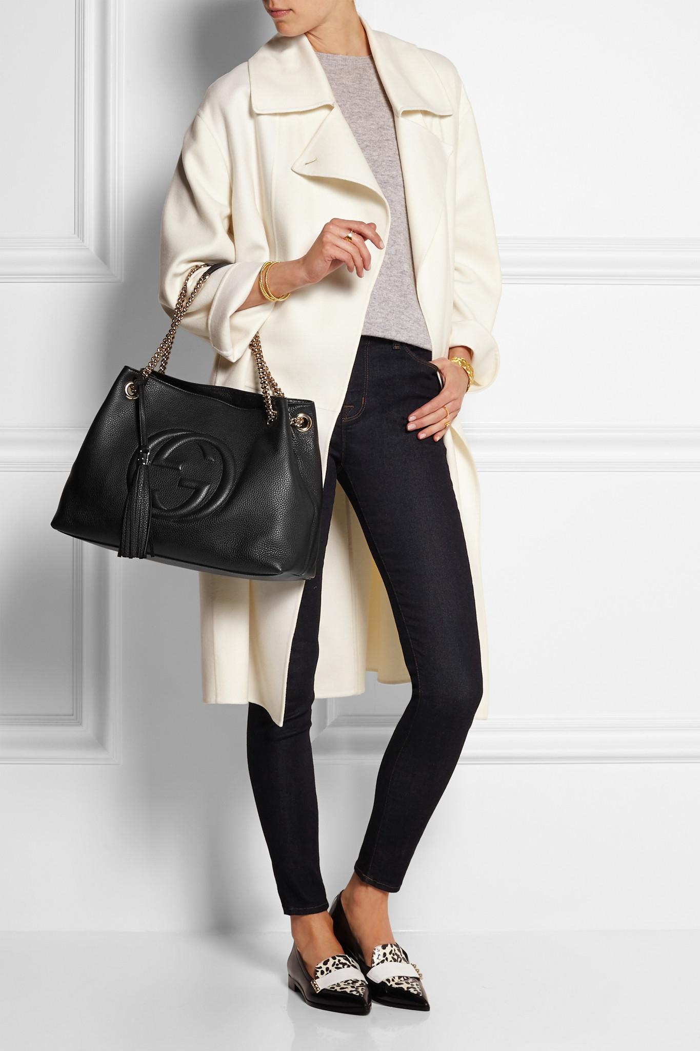 0f762df8f2bae7 Gucci Soho Medium Textured-leather Shoulder Bag in Black - Lyst