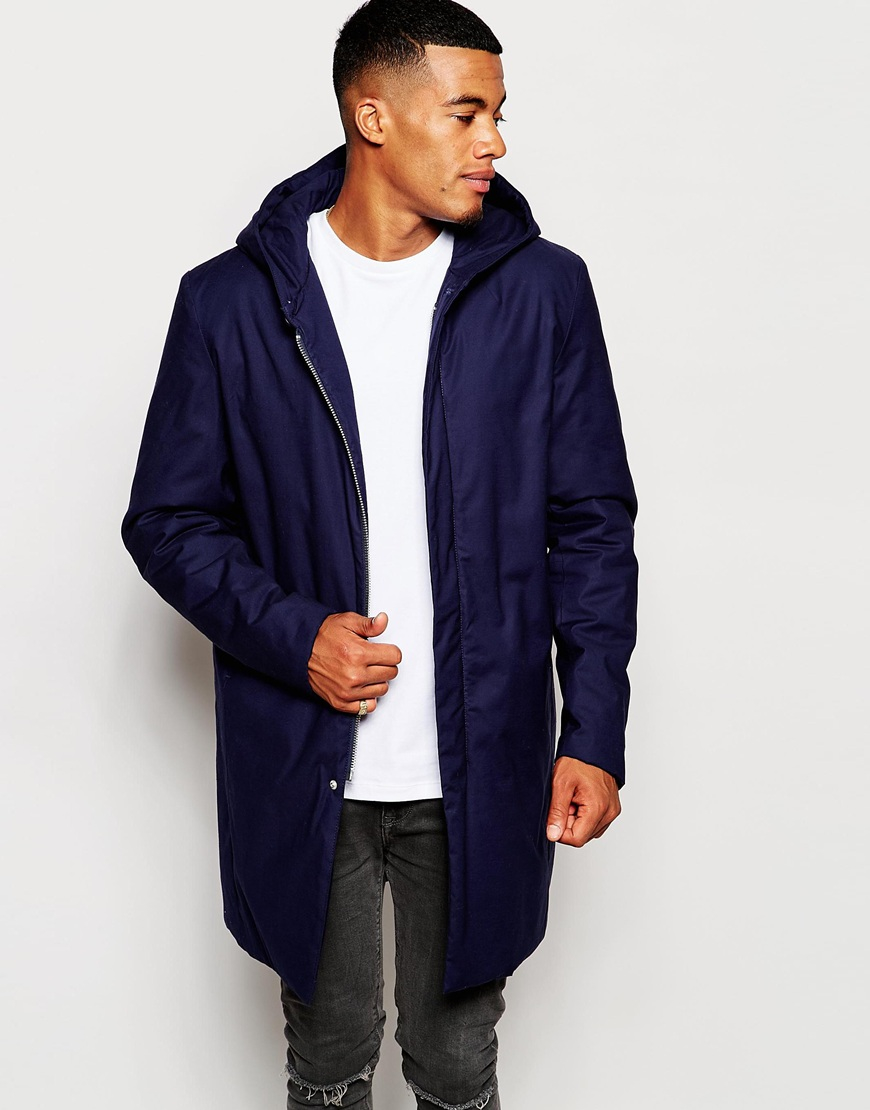 Asos Parka Jacket With Concealed Placket In Navy in Blue for Men ...