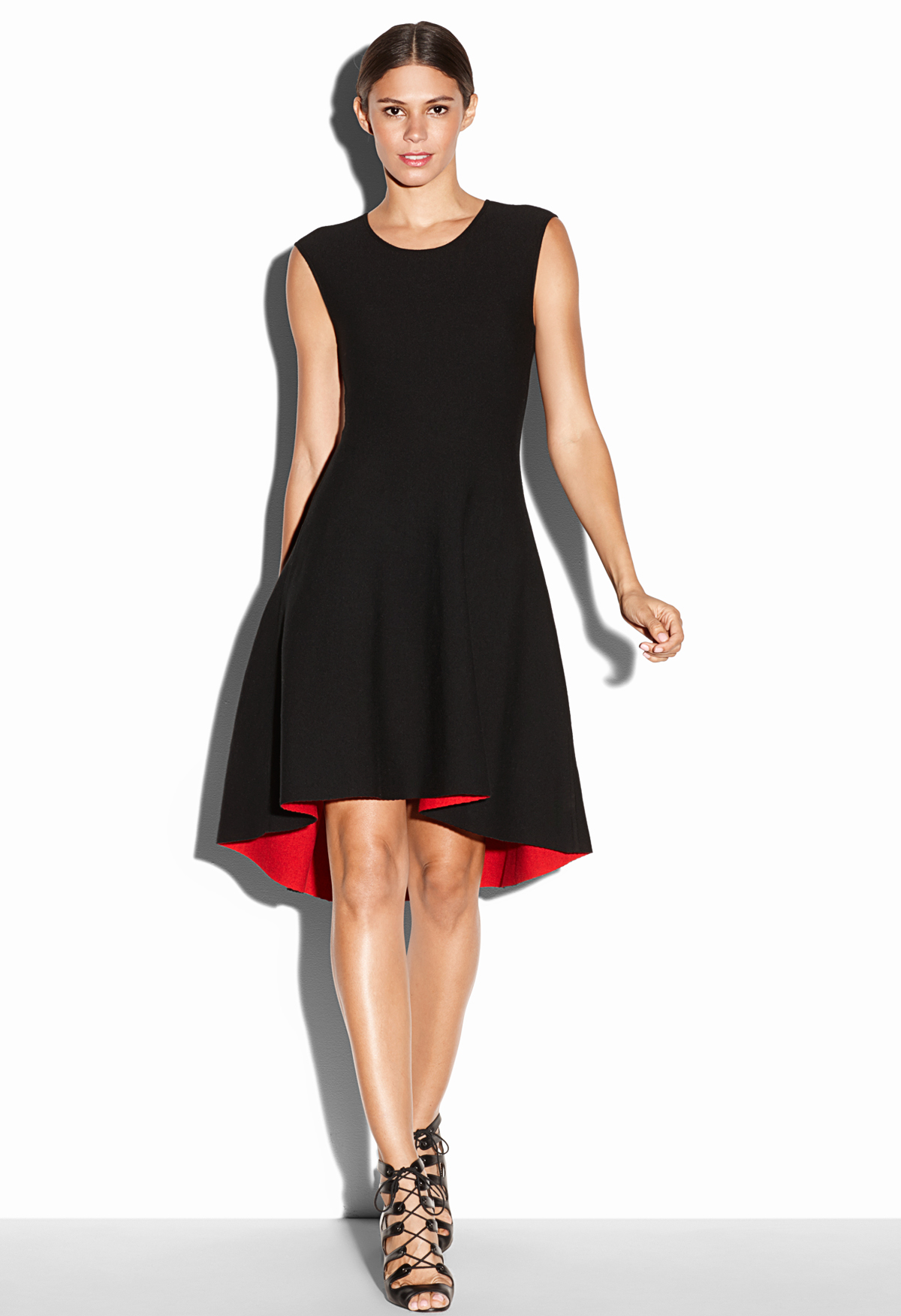 Lyst Milly Reversible Crepe Dress In Black