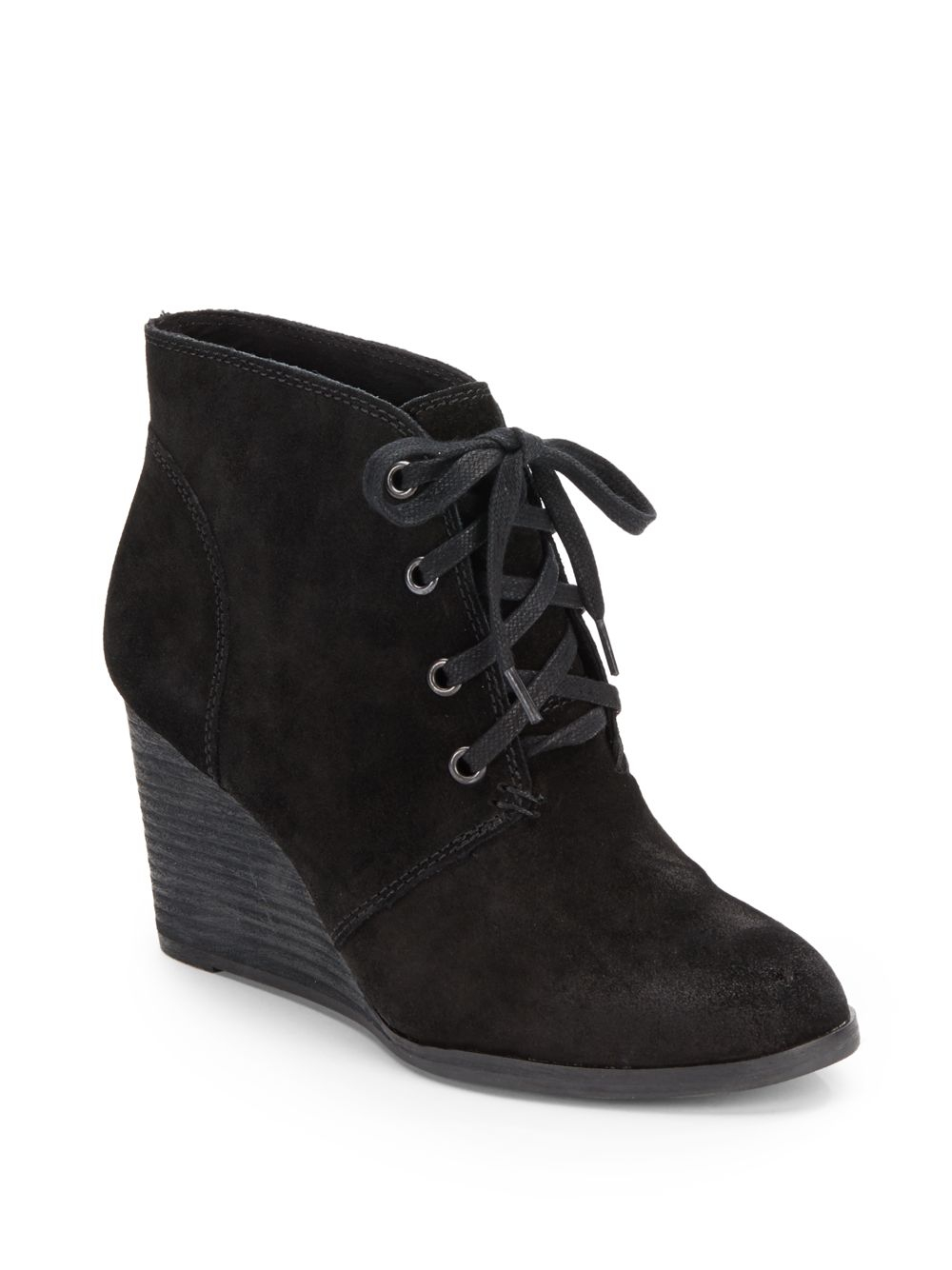 Lucky Brand Swayze Distressed Suede Wedge Ankle Boots In