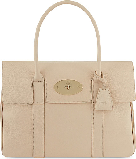 1efda46eb5f ... spain mulberry bayswater small grained leather bag in natural lyst  d4e7f b2994 ...