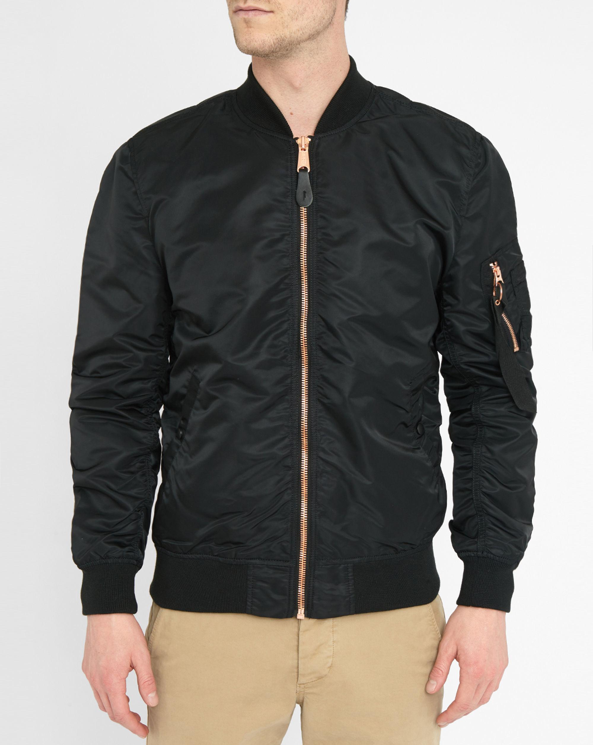 alpha industries rose gold ma1 black zip bomber jacket in. Black Bedroom Furniture Sets. Home Design Ideas
