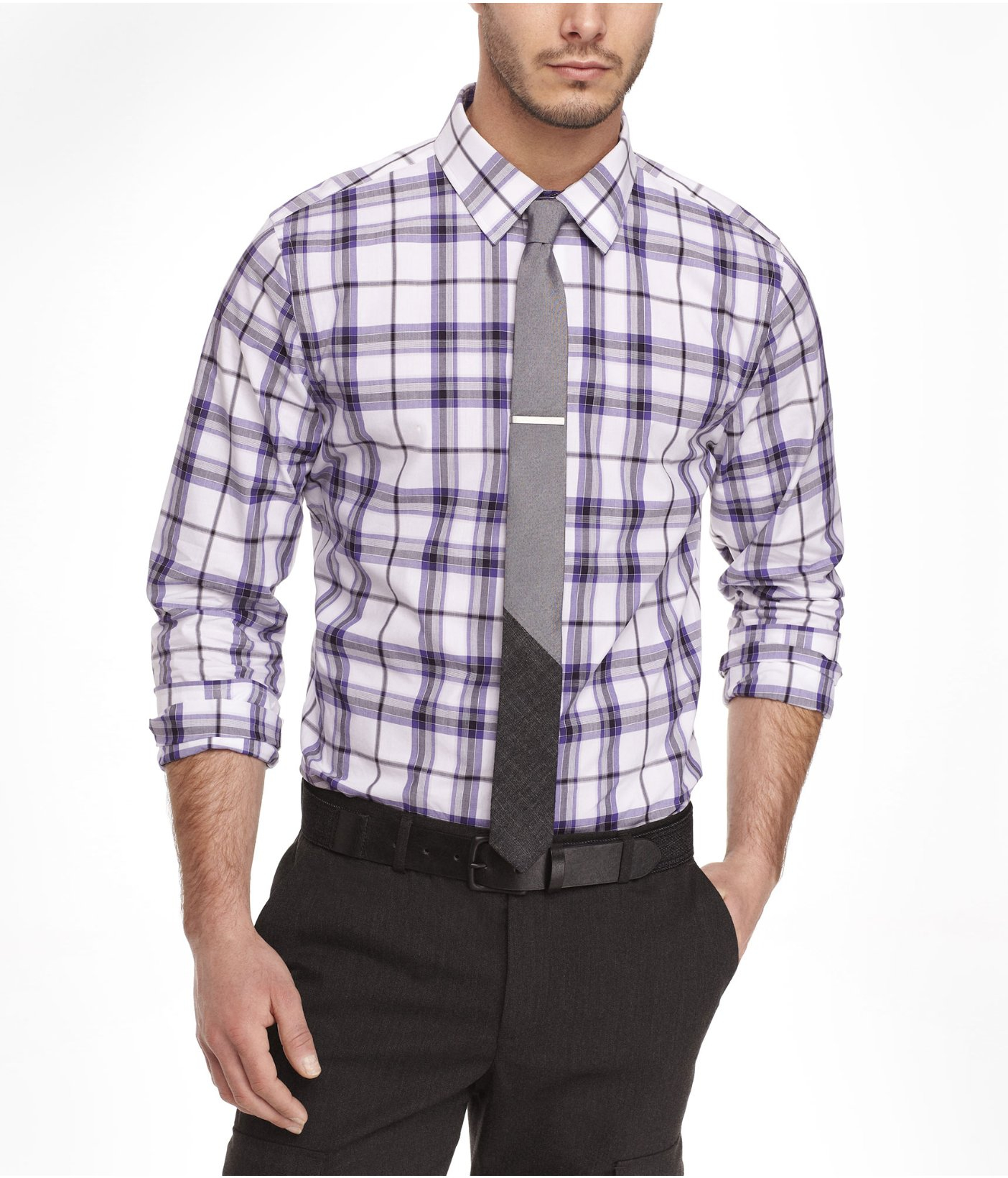 Express Extra Slim Plaid Shirt in Purple for Men (GRAPE ...