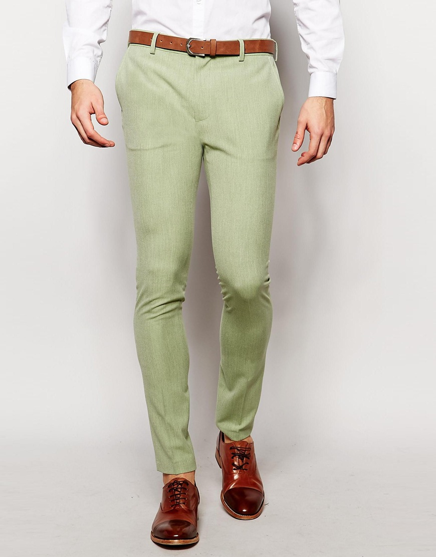 Asos Super Skinny Suit Trousers In Sage Green for Men | Lyst