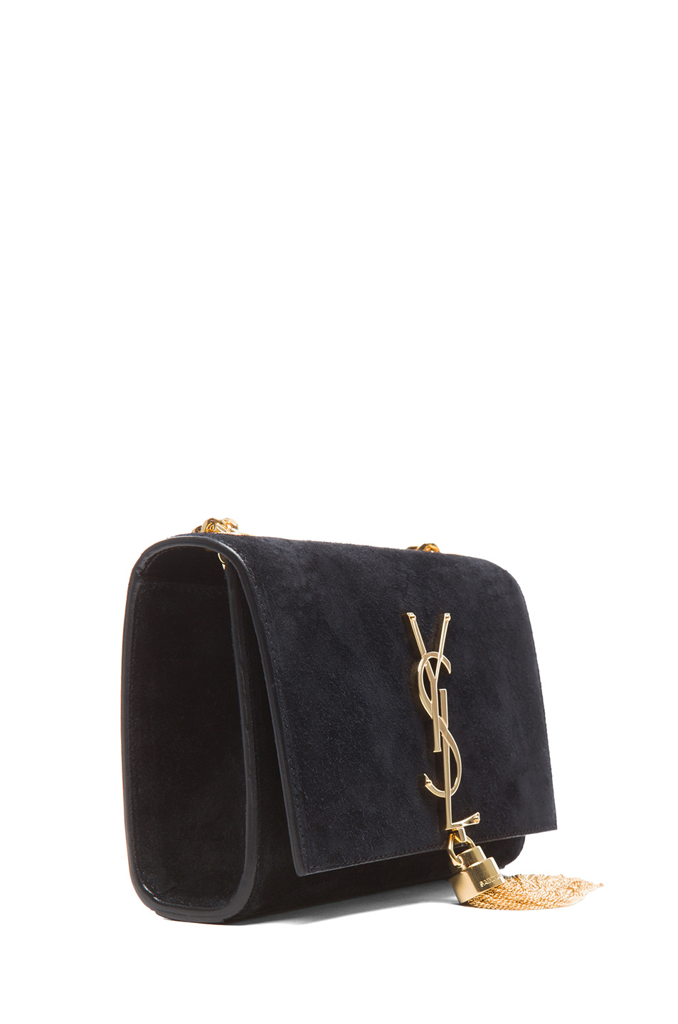 55fff68bed3 Saint Laurent Small Monogramme Tassel Chain Bag in Black - Lyst