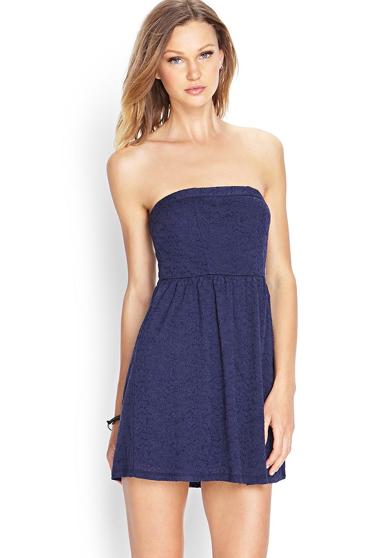 dedf911fad9c Forever 21 Crochet Lace Mini Dress in Blue - Lyst