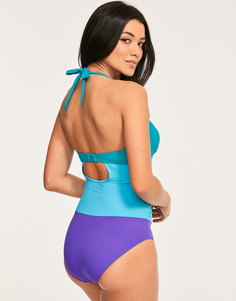 42c0fe2935c6a Figleaves Colourblock Underwired Shaping Halter Swimsuit D-GG Cup in Blue -  Lyst