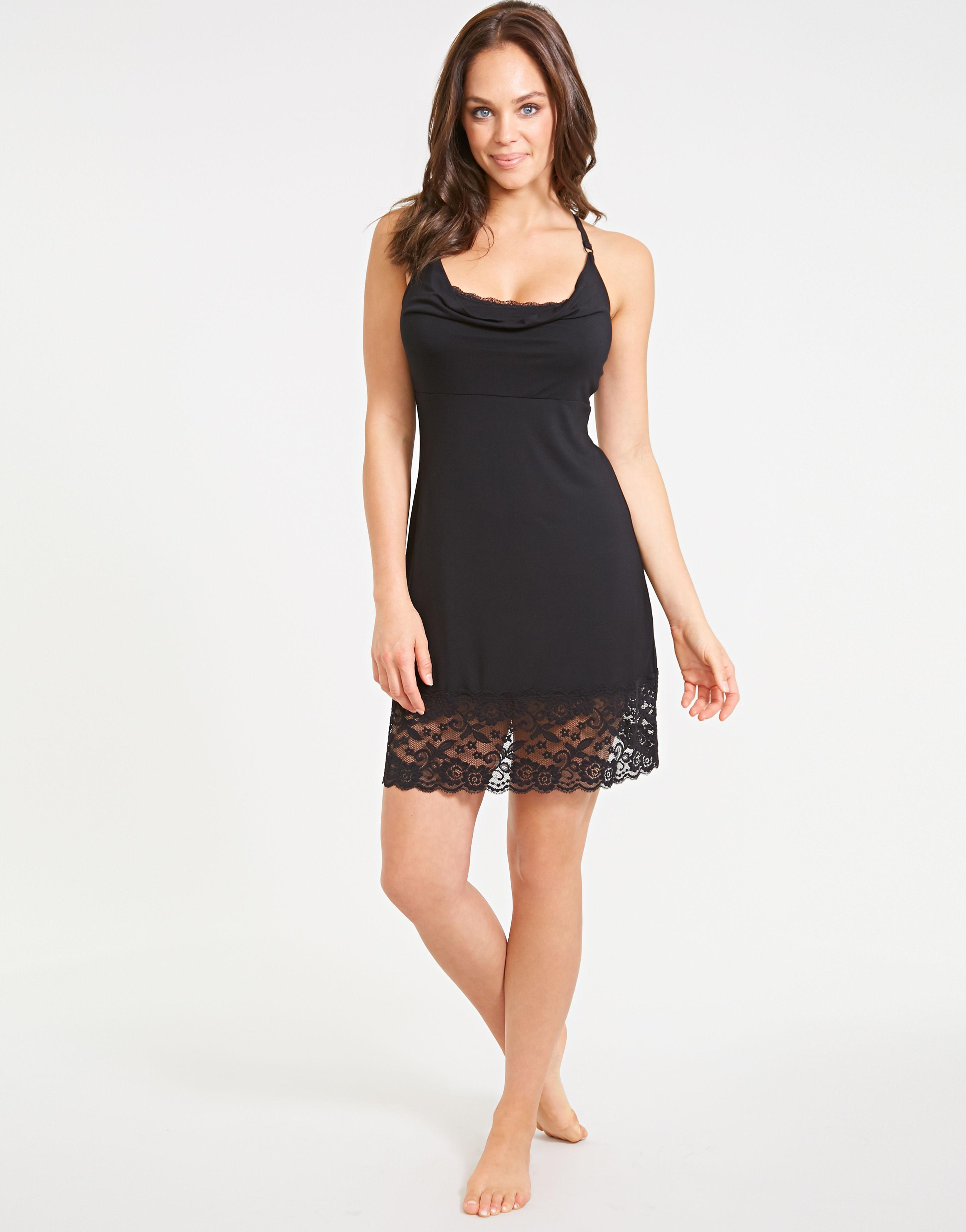567a8c26b5 Figleaves Eliza Lace Drape Hidden Support Chemise in Black - Lyst