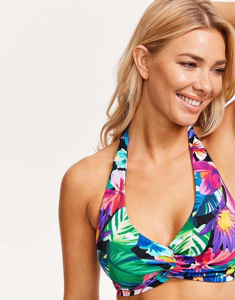 a92af44d2c9f8 Figleaves. Women's Hawaii Floral Soft Wrap Halter Bikini Top
