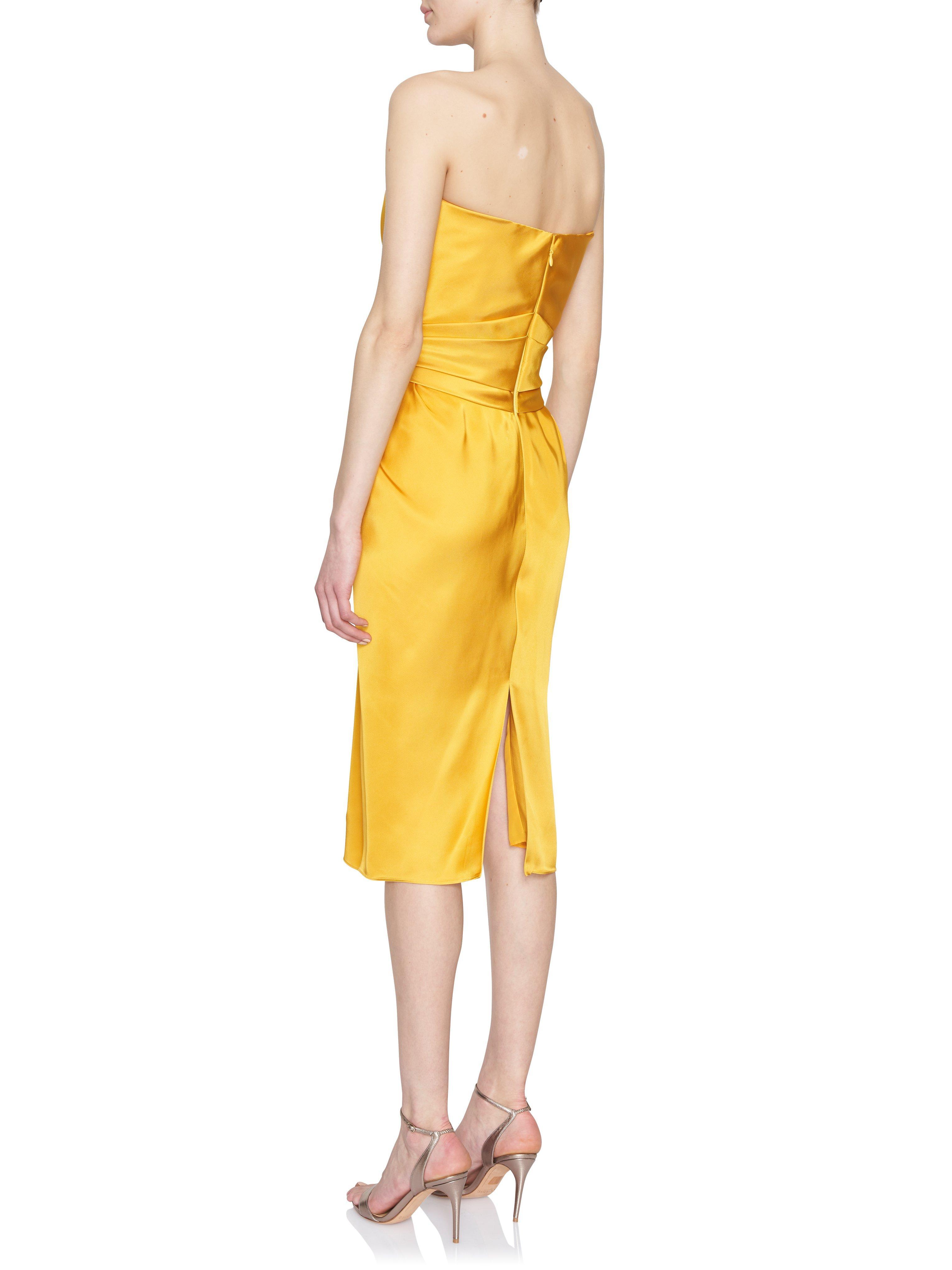 35d5a0ae9bc27 Brandon Maxwell - Yellow Liquid Satin Pleated-front Strapless Dress - Lyst.  View fullscreen