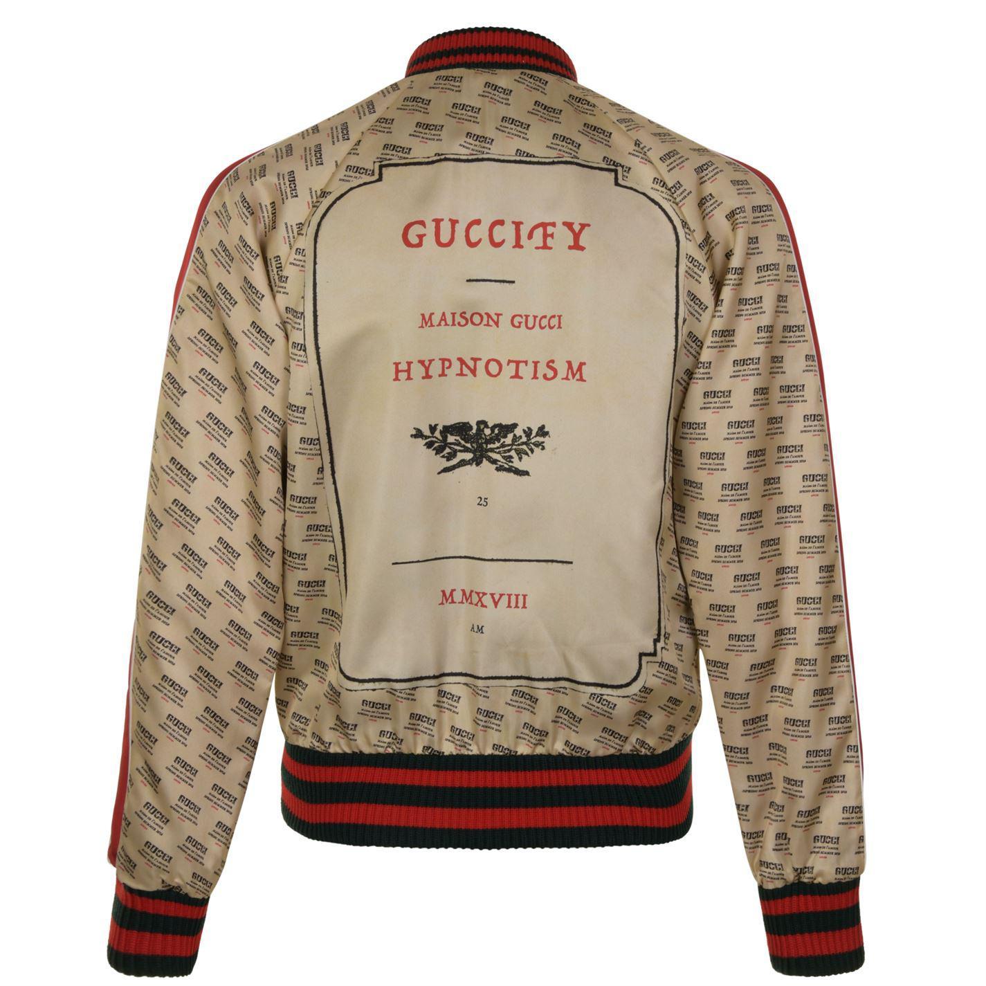 79e71e838 Gucci Baseball Stamp Print Bomber Jacket in White for Men - Lyst