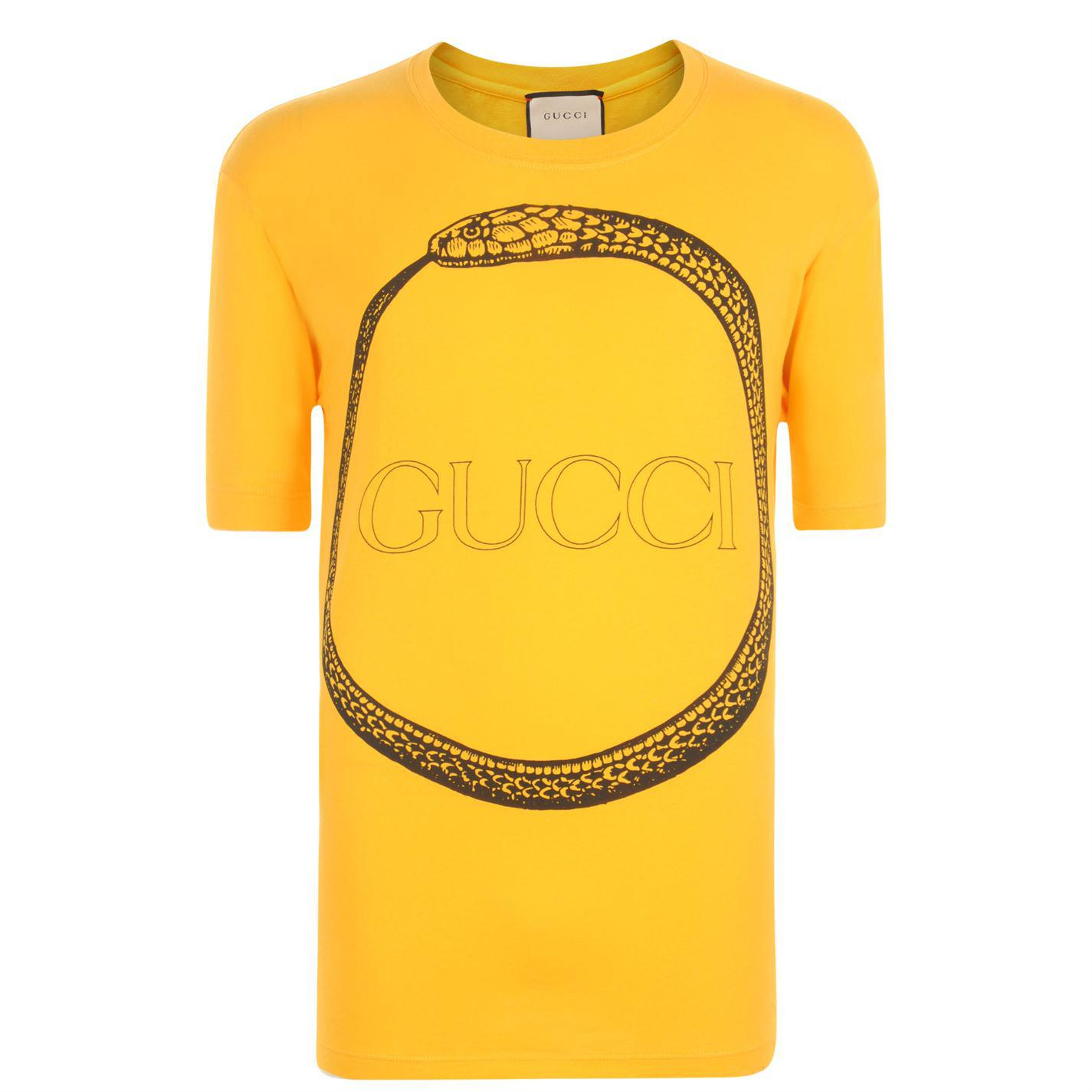Gucci Snake Logo T Shirt in Yellow for Men - Lyst 287993a237c2