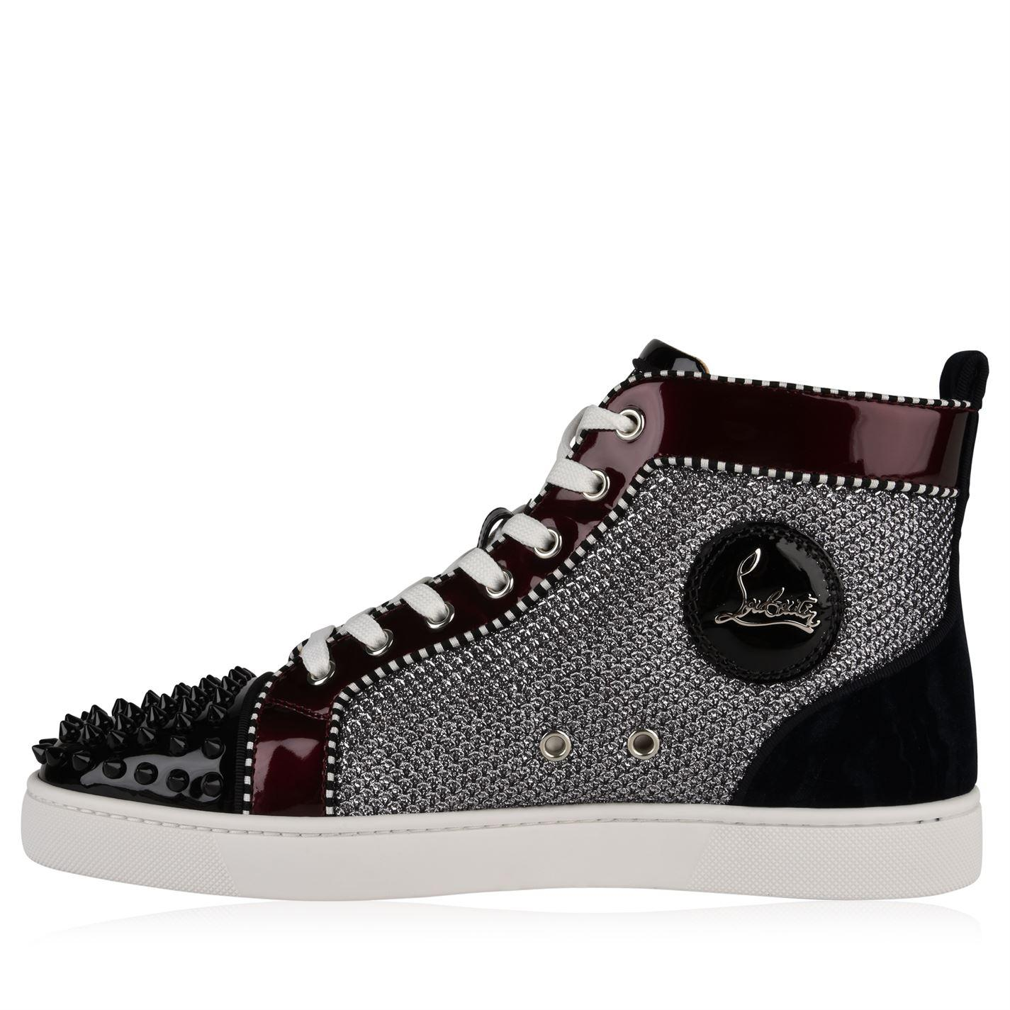 258f3876f376 Christian Louboutin Spikes Orlato Patent Glitter High Top Trainers ...