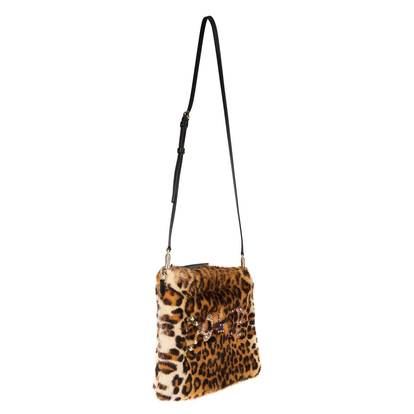 61caa1d40a25 Dolce   Gabbana Clio Faux Fur Cross Body Bag in Brown - Lyst