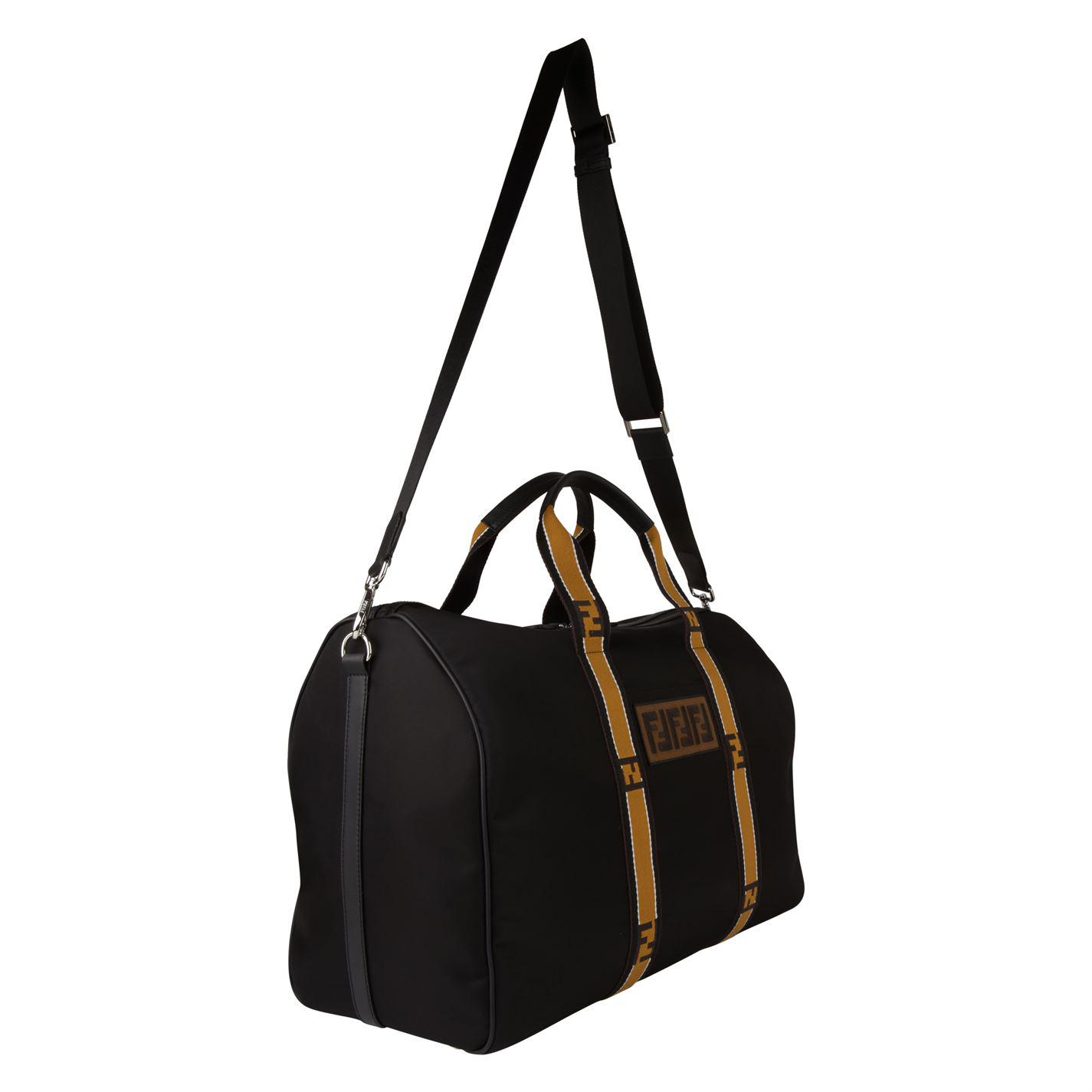 78664ccd4beb Lyst - Fendi Logo Tape Duffle Bag in Black for Men