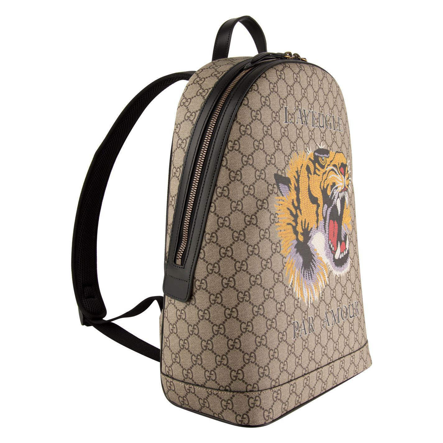 c2a081872ae0 Gucci - Natural Tiger Gg Supreme Backpack - Lyst. View fullscreen