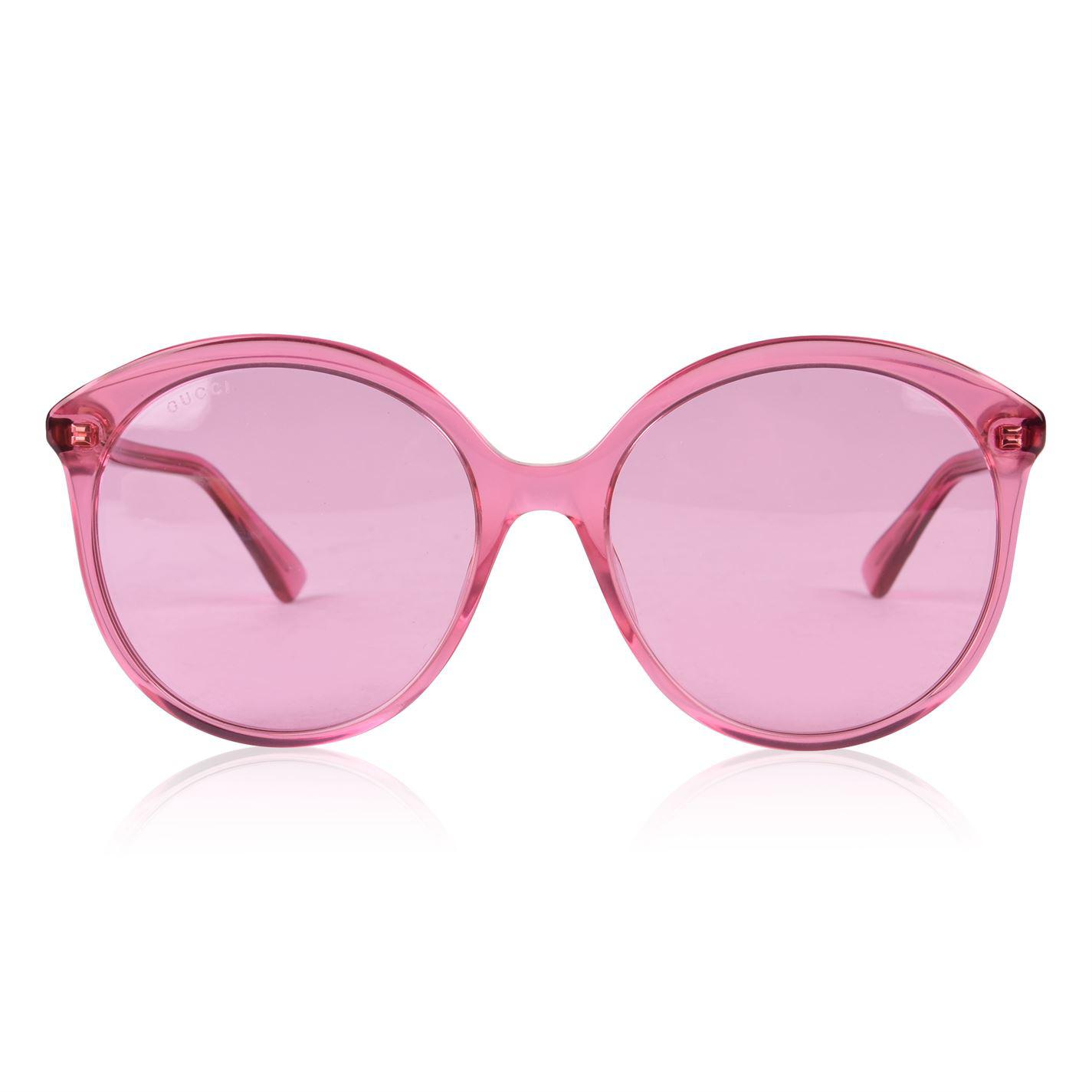 70ff721ec1 Gucci. Women s Pink Gg0257s Specialized Fit Round Frame Acetate Sunglasses