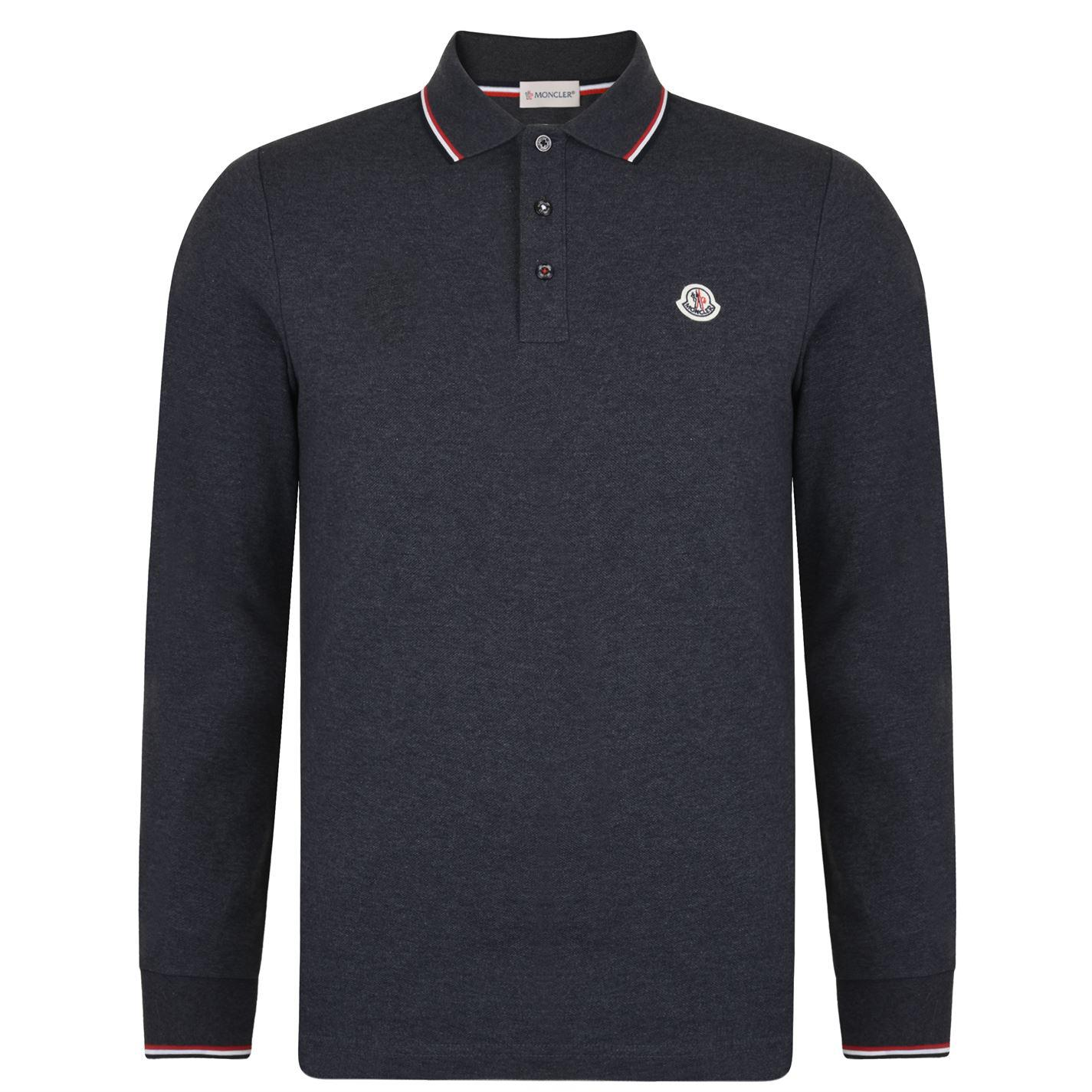a9fe6acb1f76 Blue Lyst Long Logo Sleeved For Men Shirt Moncler Polo In zq4UwdYx