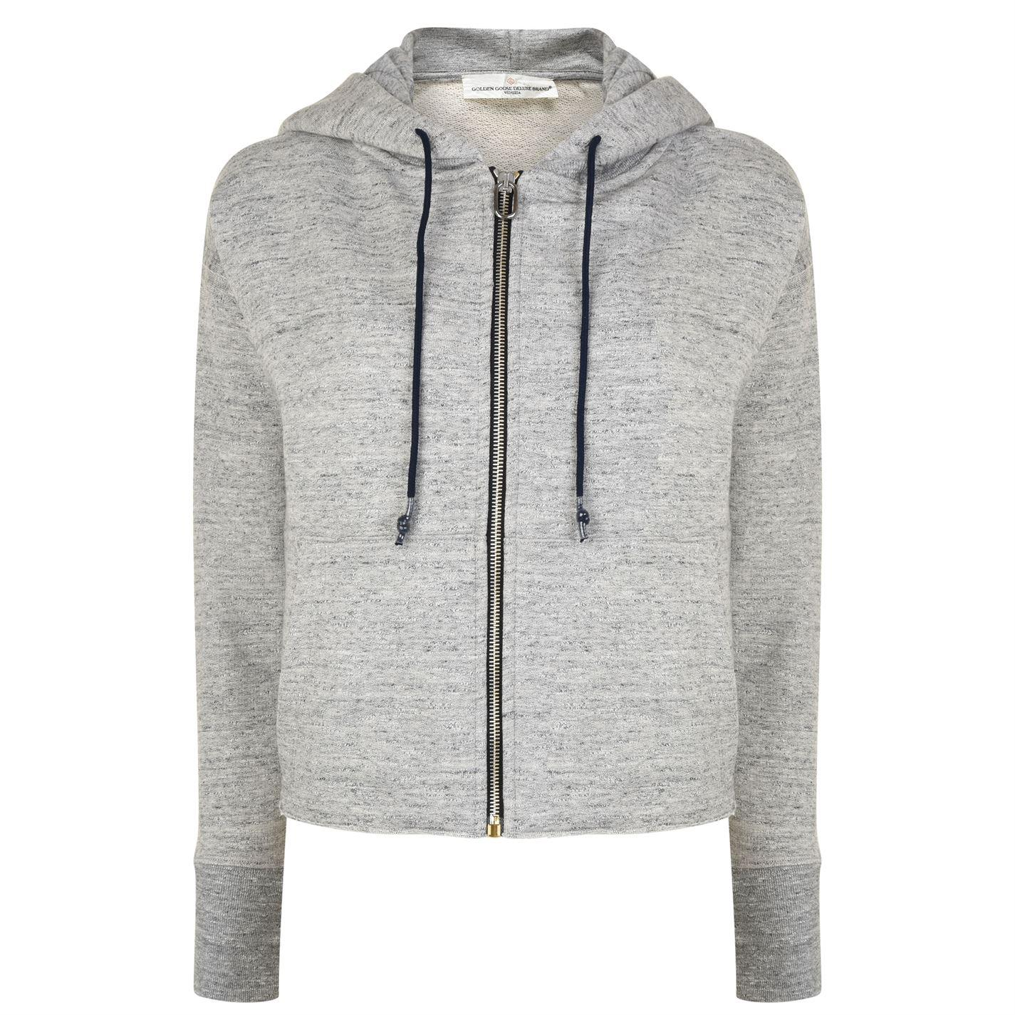 Goose In Deluxe Brand Hooded Lyst Gray Crop Golden Sweatshirt PHwqq5a