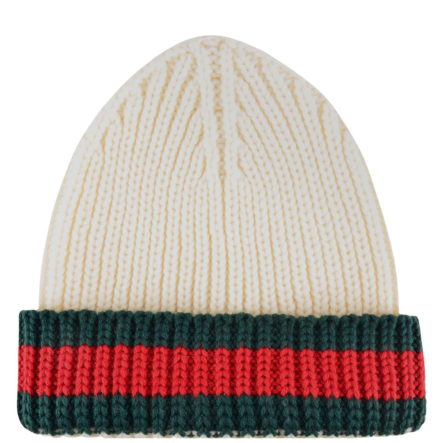 Lyst - Gucci Web Trim Beanie Hat in White for Men a09ffb6ddfa