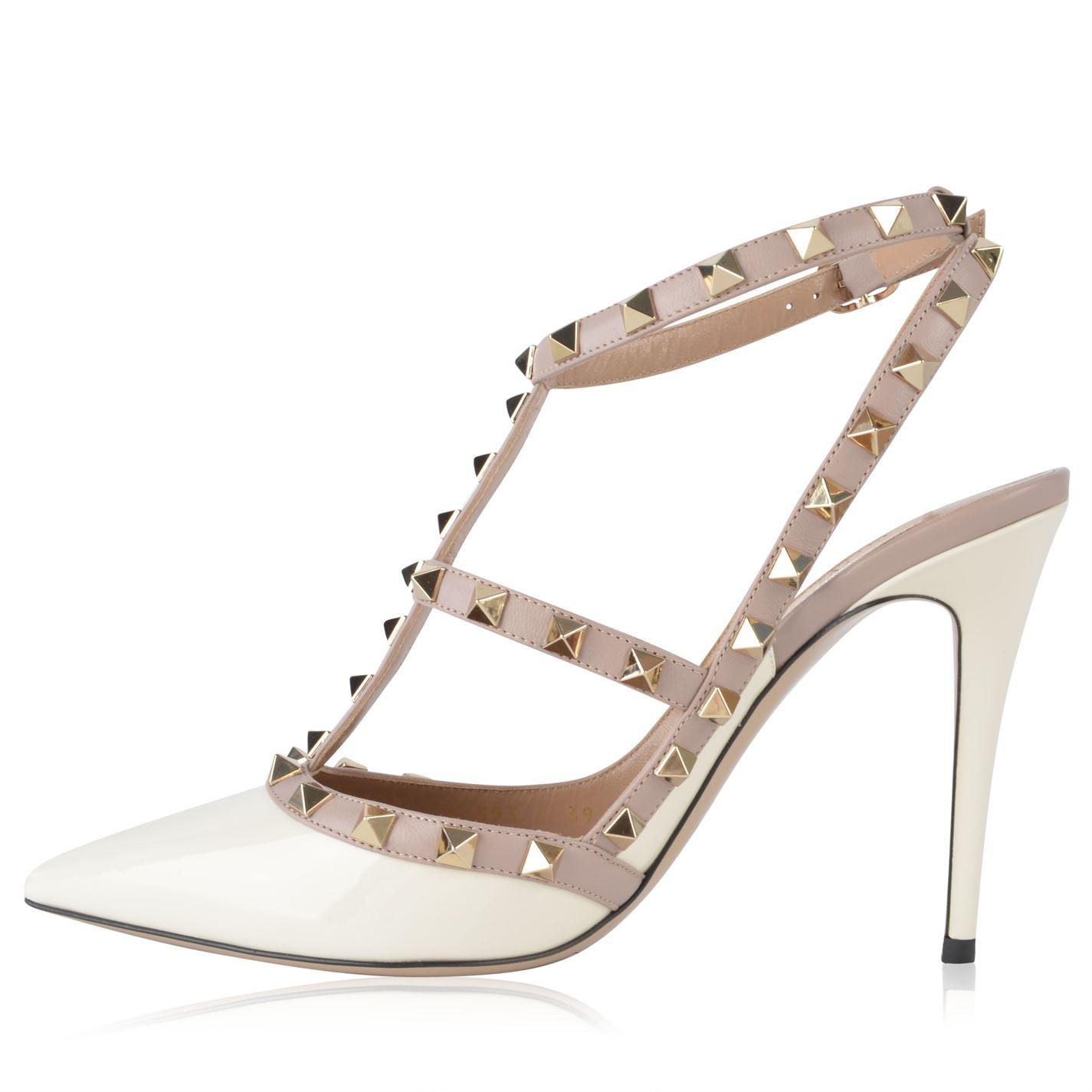05a90acc6 Valentino - Multicolor Rockstud 100 Ankle Strap Heels - Lyst. View  fullscreen