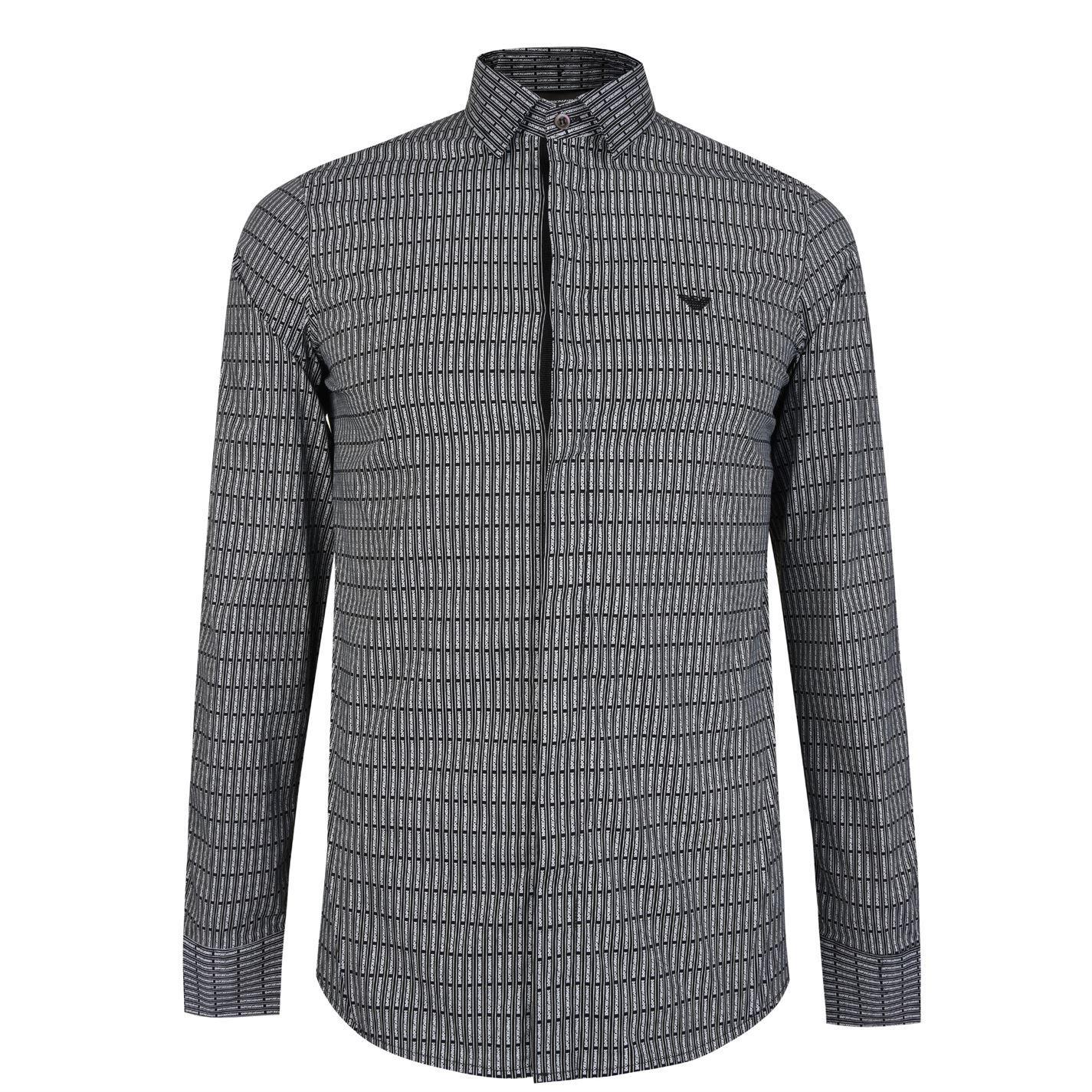 Lyst Emporio Armani Detachable Collar Logo Shirt In Black For Men