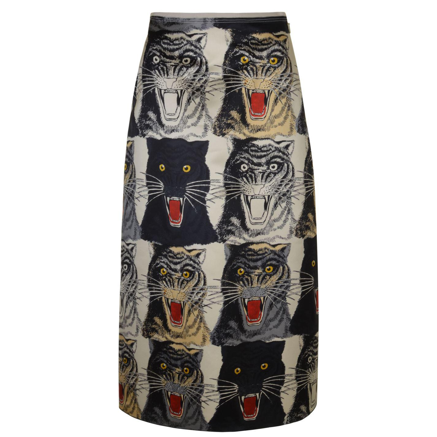 72fe8b18a Gucci - Multicolor Tiger Face A Line Skirt - Lyst
