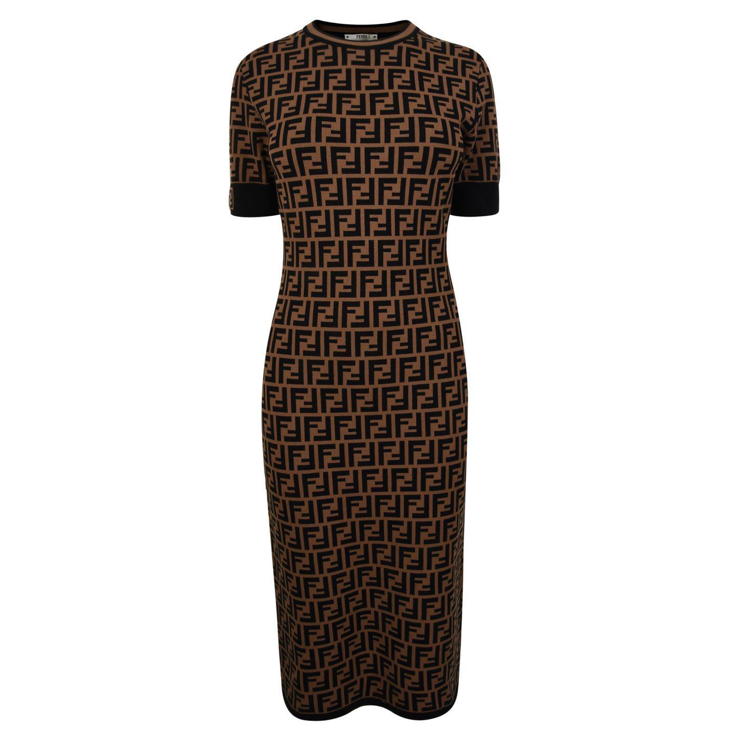 da9d9c565921 Fendi - Brown Logo Knit Body-con Midi-dress - Lyst. View fullscreen