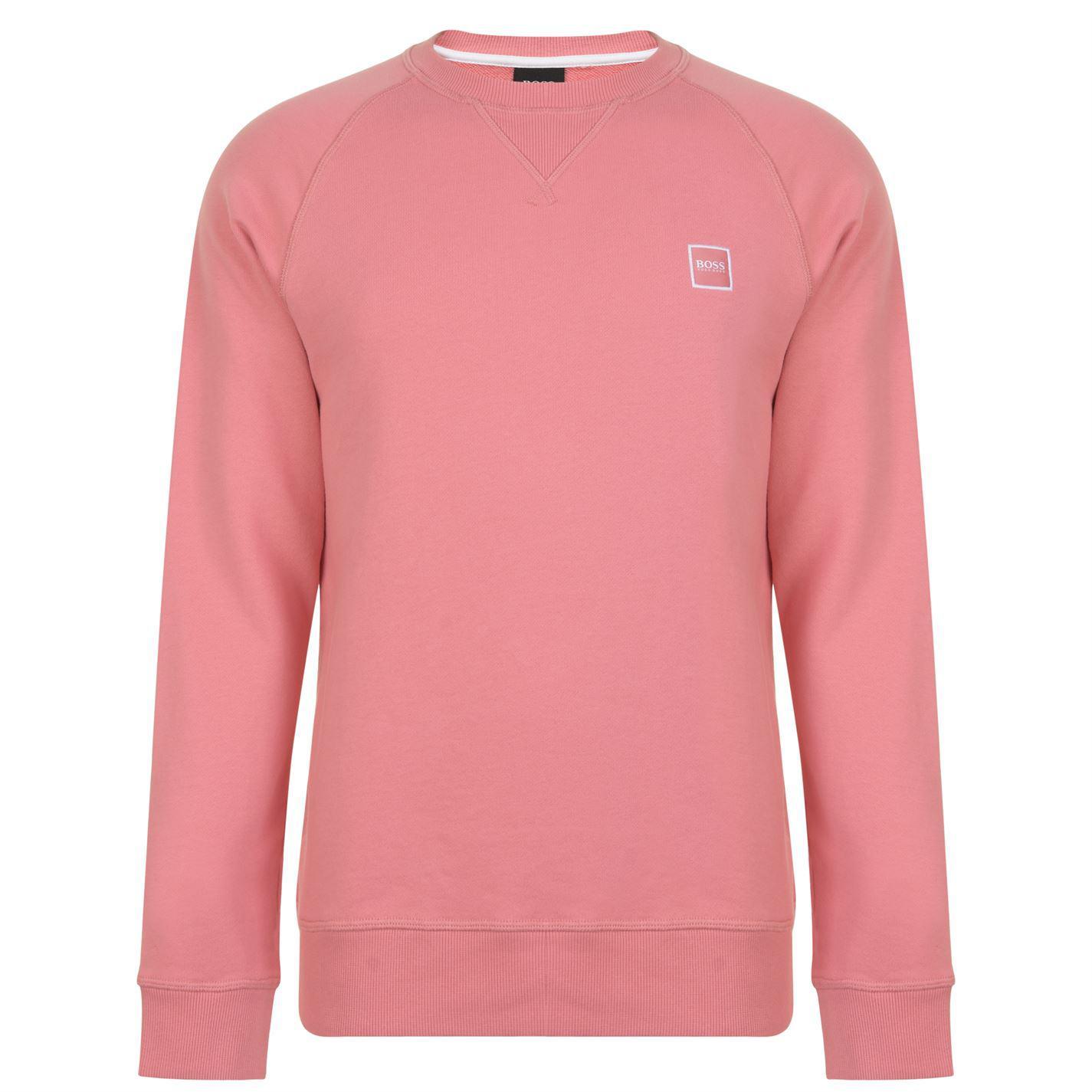 b54a47df BOSS by Hugo Boss. Men's Pink Wyan French Terry Logo Patch Sweatshirt